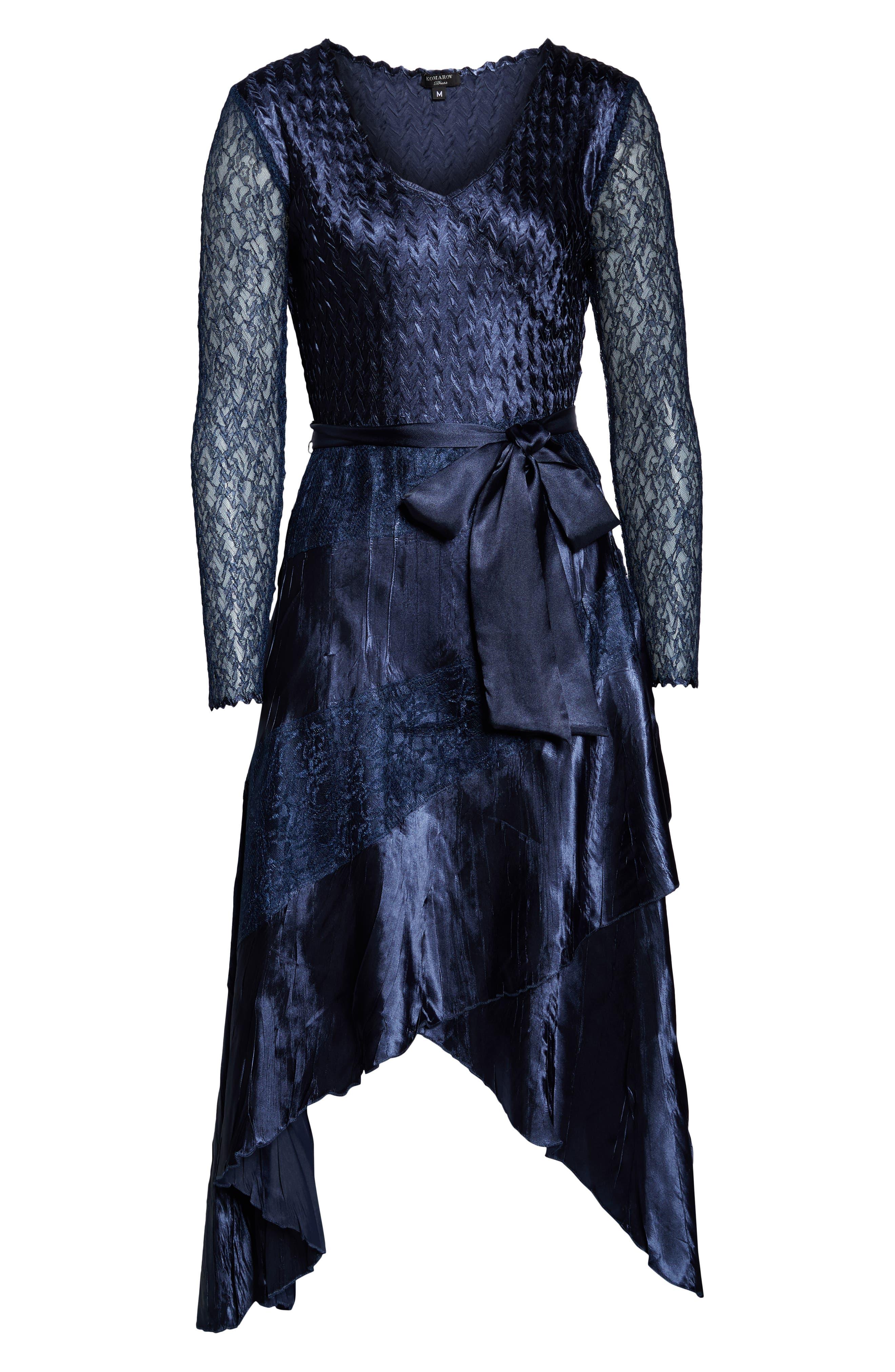 KOMAROV, Charmeuse & Chiffon High/Low Hem Dress, Alternate thumbnail 5, color, ECLIPSE
