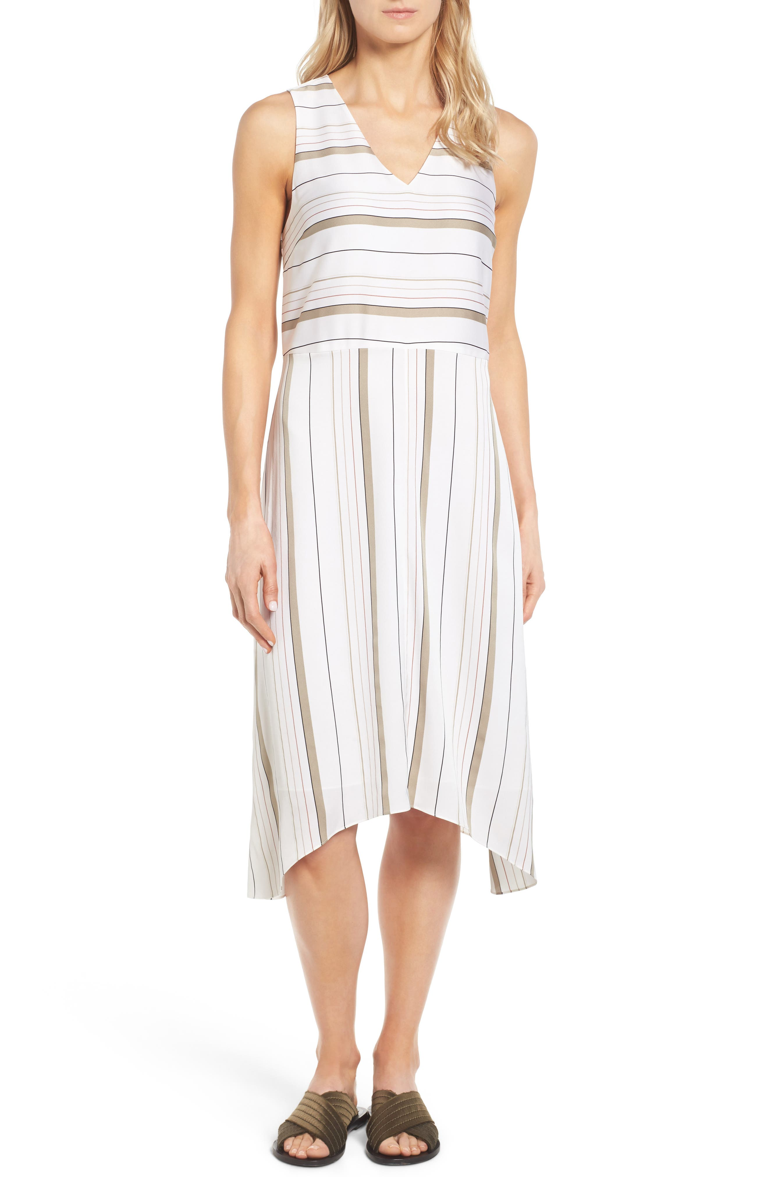 NORDSTROM COLLECTION, Stripe Stretch Silk Dress, Main thumbnail 1, color, 900