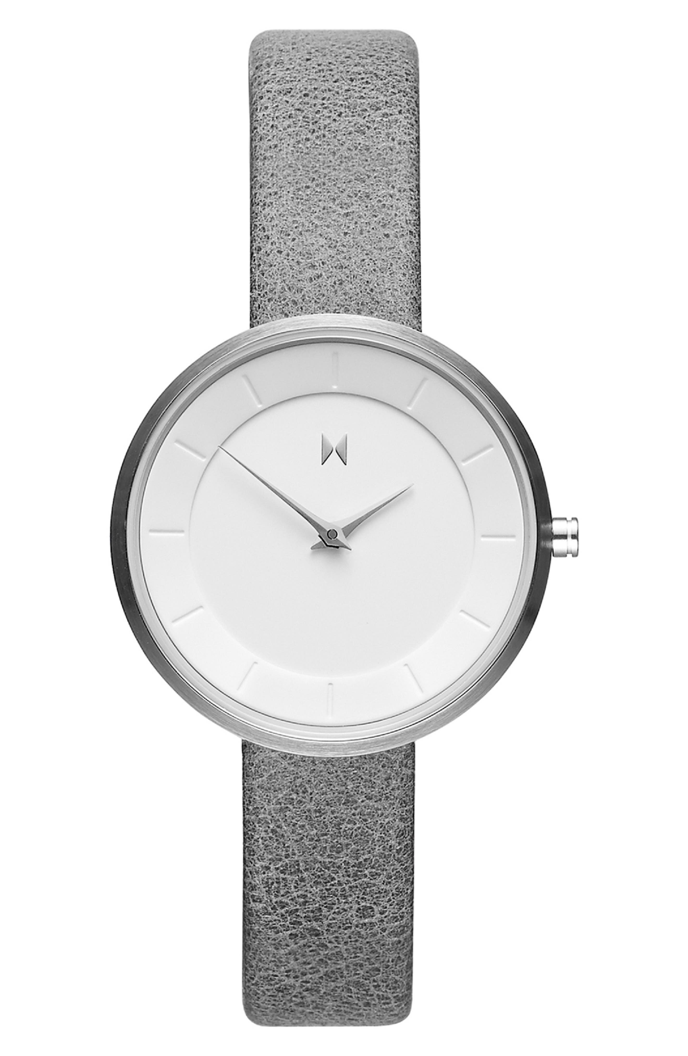 MVMT Mod Leather Strap Watch, 32mm, Main, color, GREY/ WHITE/ SILVER