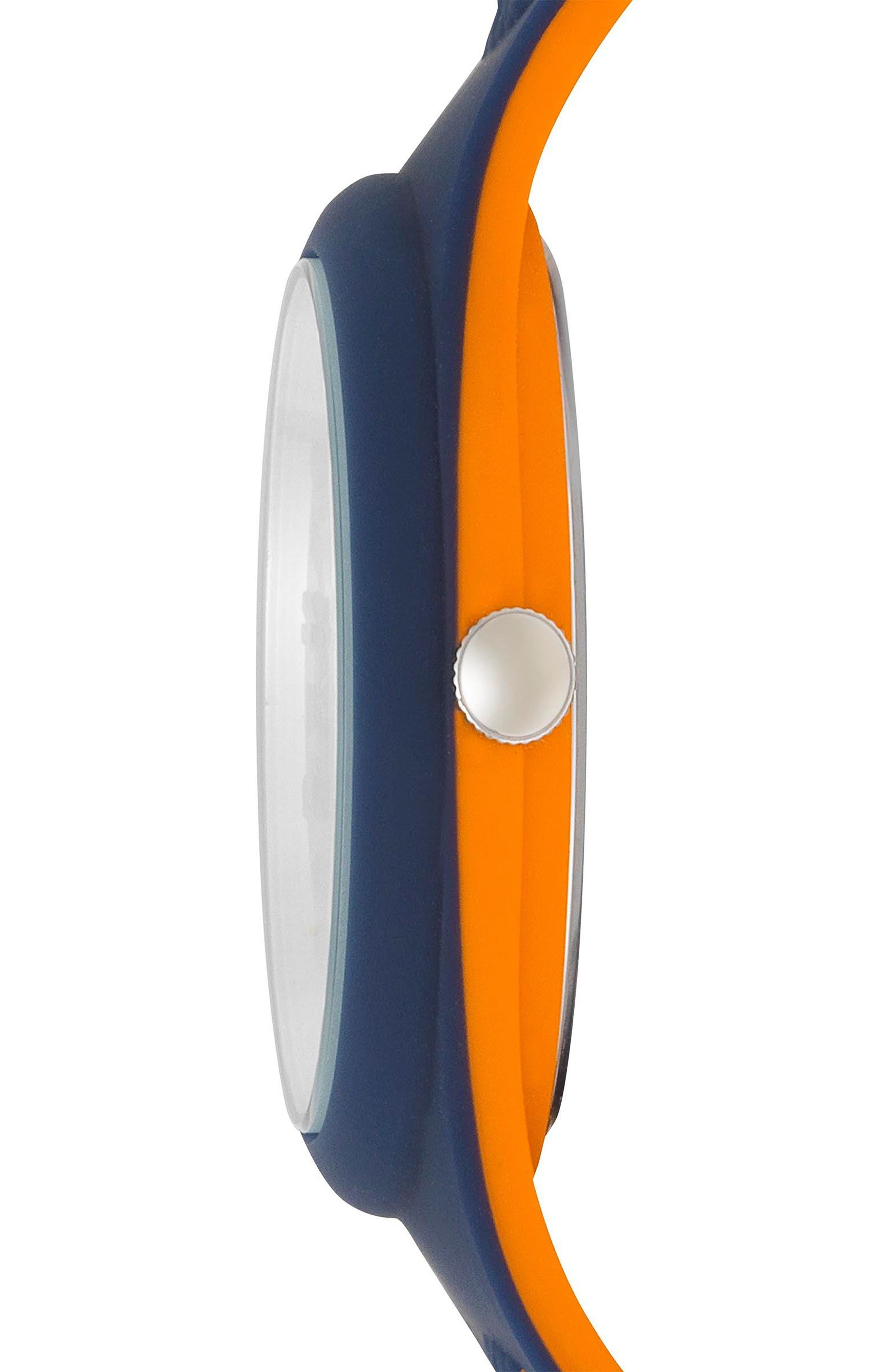 VERSUS VERSACE, Fire Island Silicone Strap Watch, 39mm, Alternate thumbnail 2, color, GREY/ ORANGE