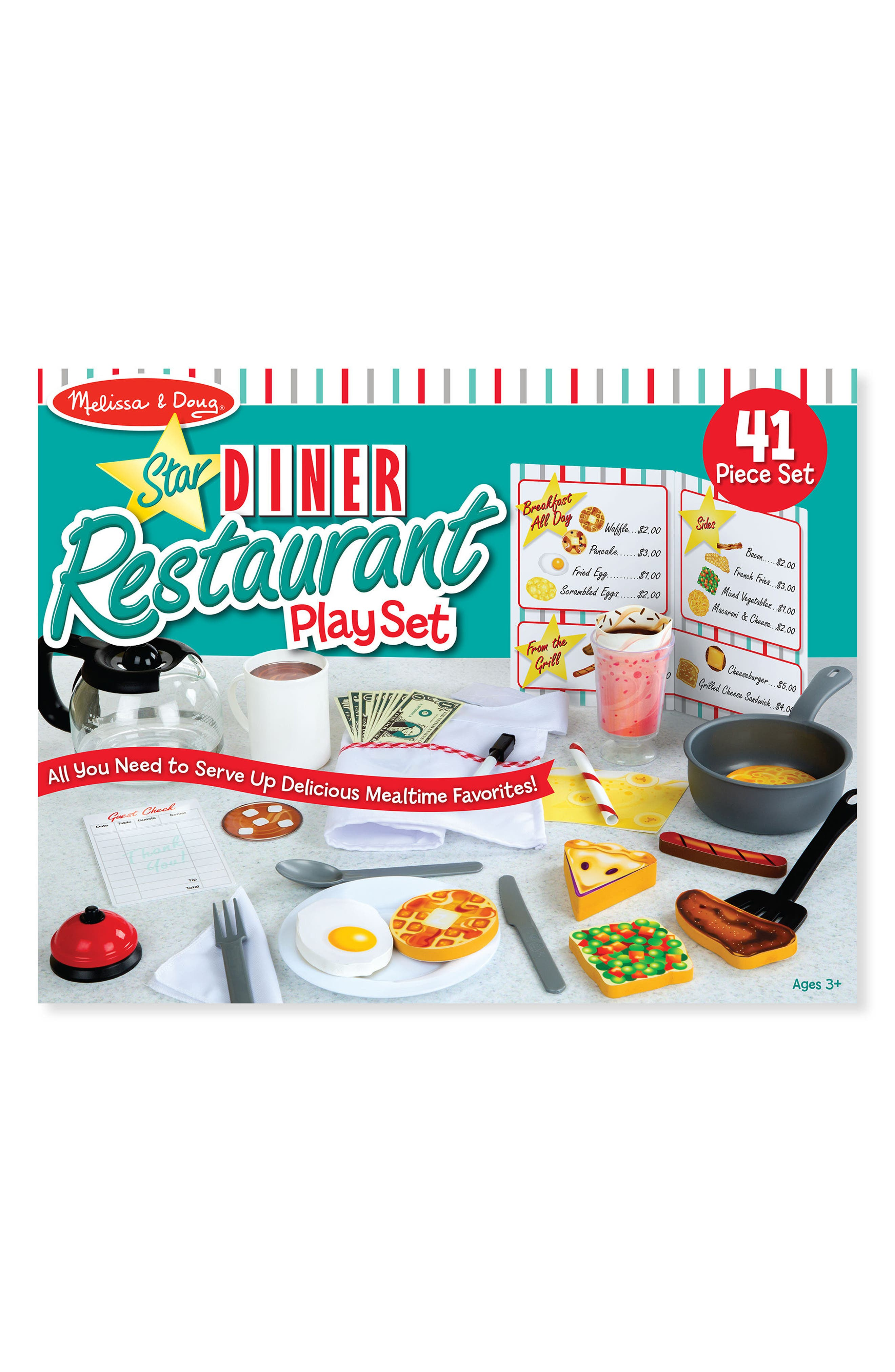 MELISSA & DOUG, 41-Piece Star Diner Restaurant Play Set, Main thumbnail 1, color, WHITE