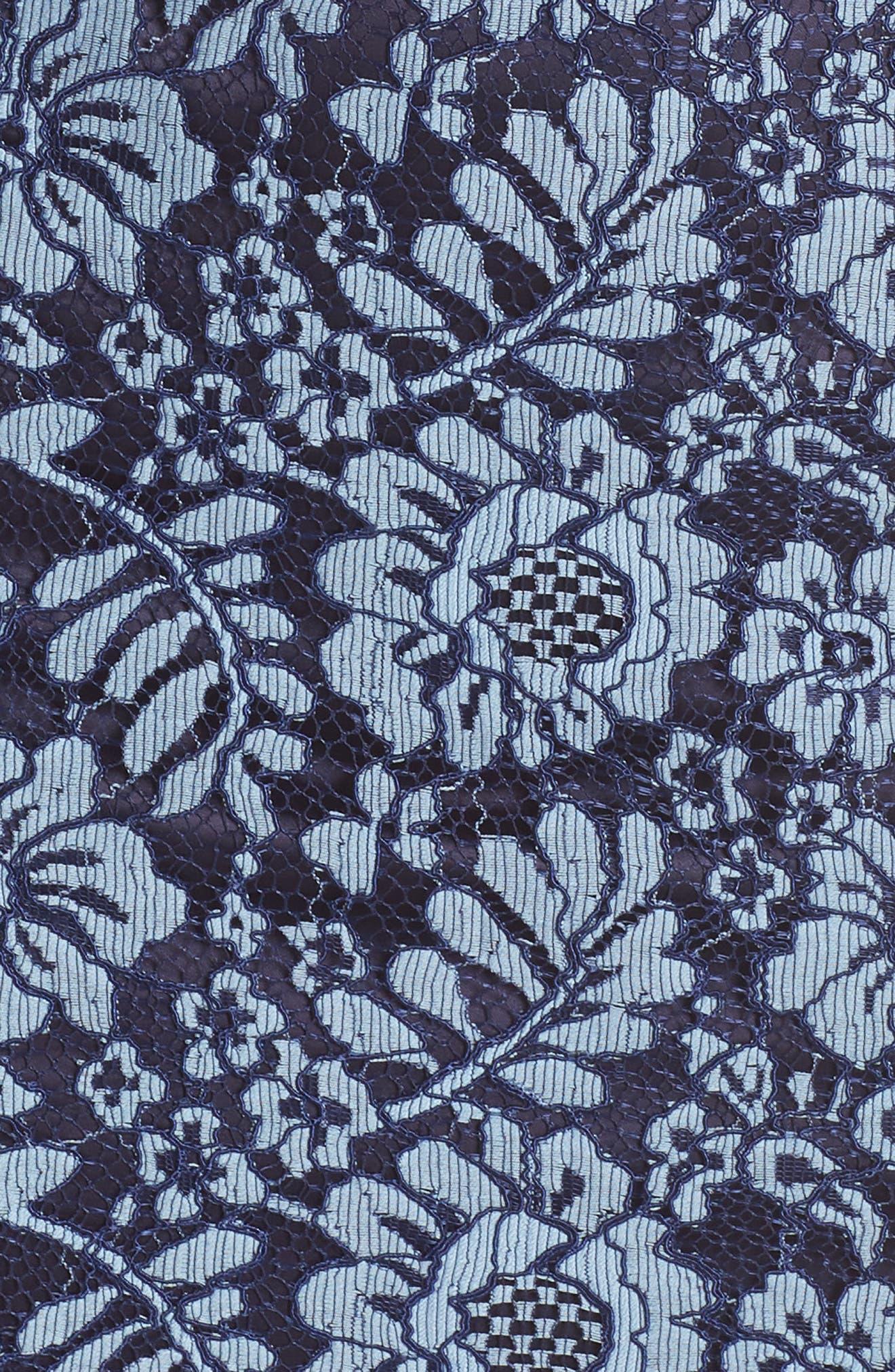 ELIZA J, Floral Lace Sheath Dress, Alternate thumbnail 6, color, NAVY