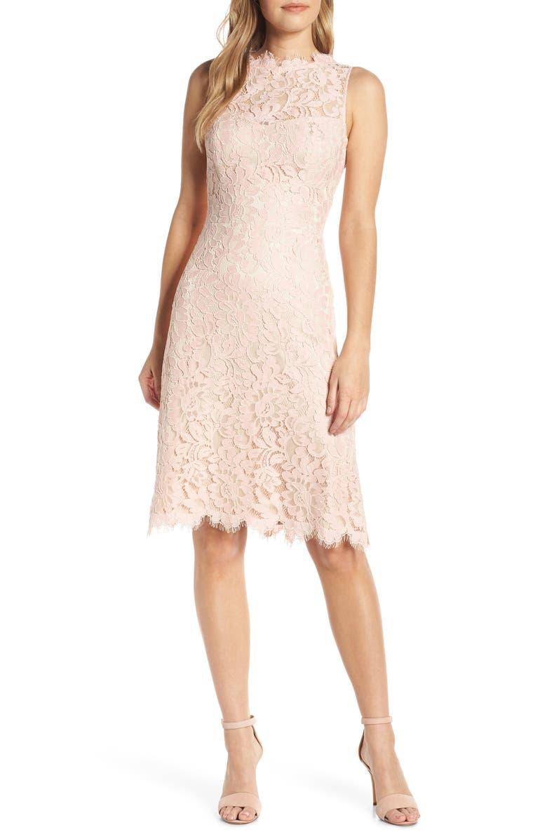 ELIZA J High Neck Lace Sheath Dress, Main, color, BLUSH