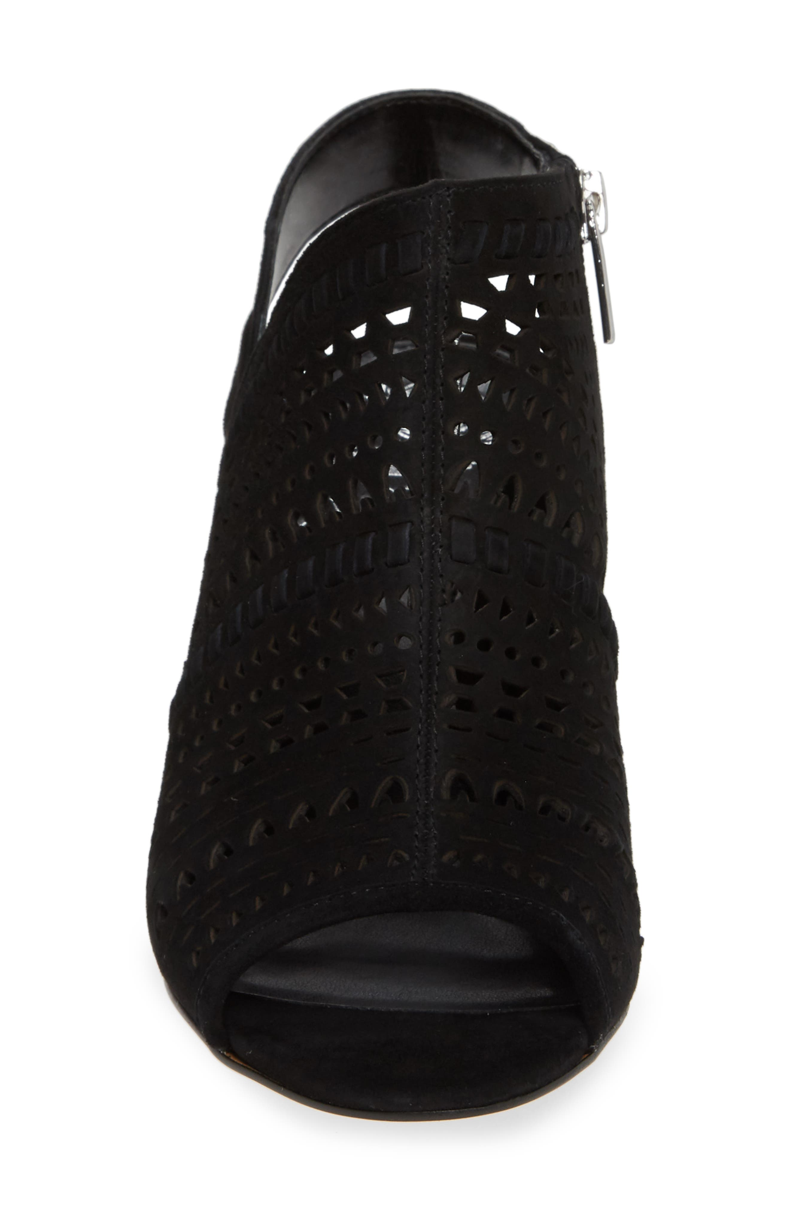 VINCE CAMUTO, Derechie Perforated Shield Sandal, Alternate thumbnail 4, color, BLACK SUEDE
