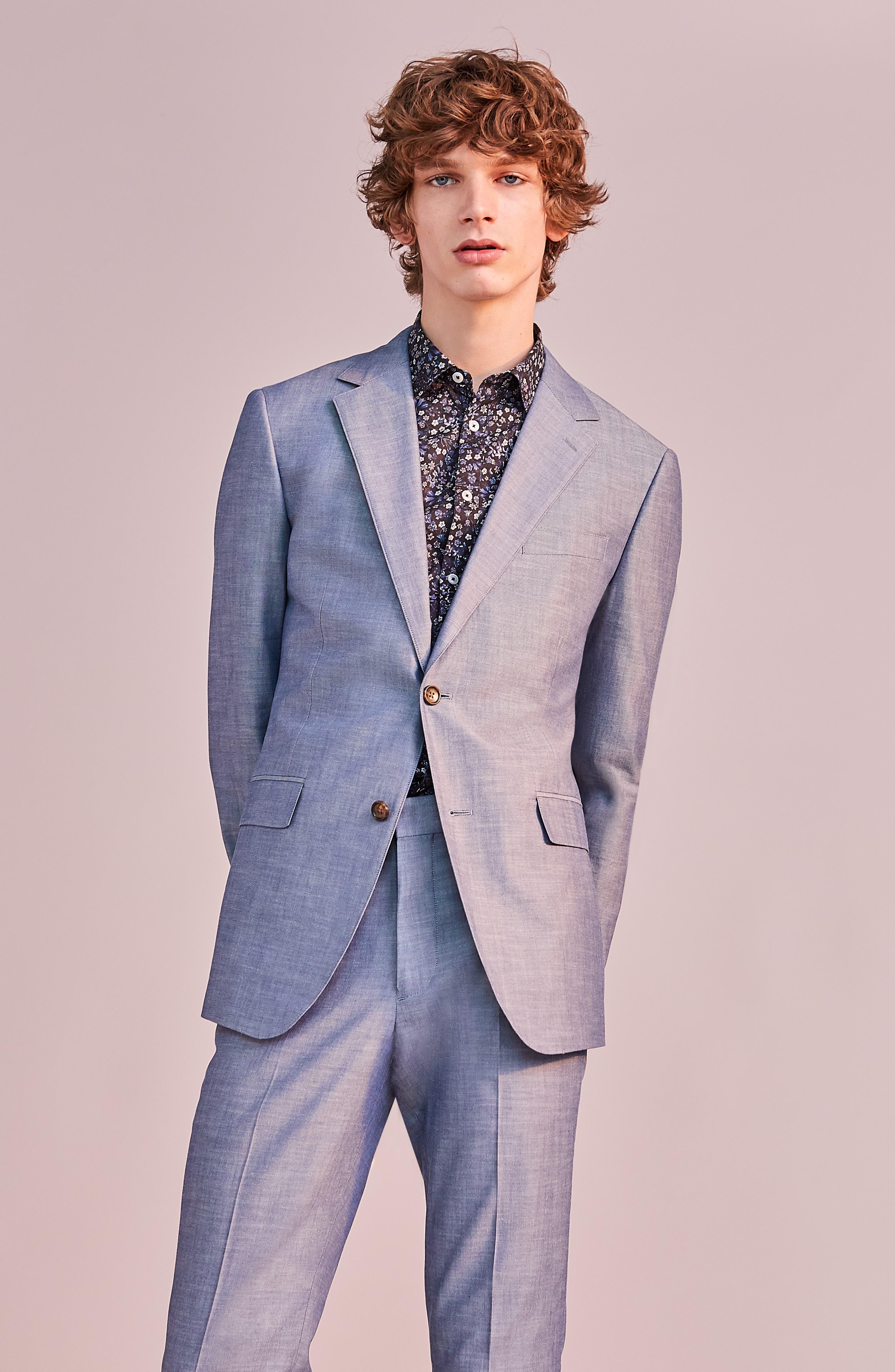BONOBOS, Slim Fit Chambray Cotton Blazer, Alternate thumbnail 5, color, SOLID BLUE