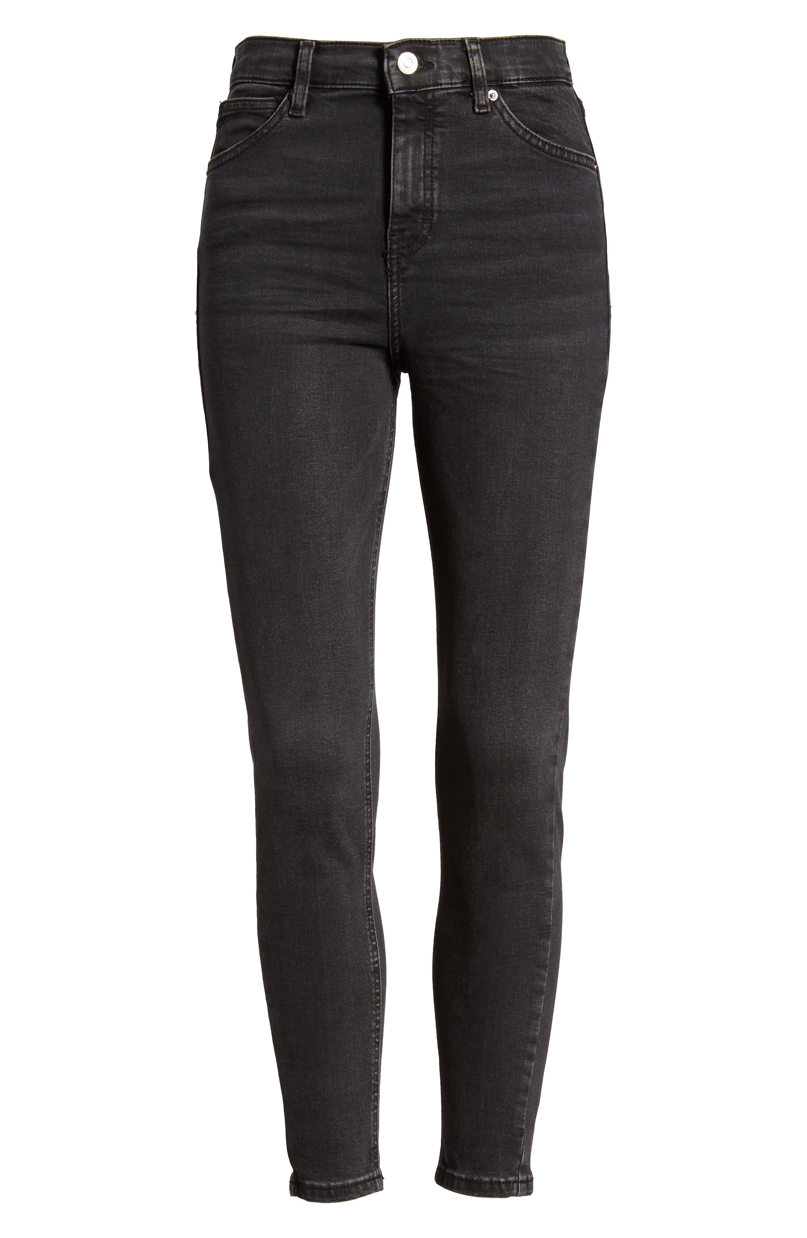 TOPSHOP, Jamie Jeans, Alternate thumbnail 7, color, WASHED BLACK