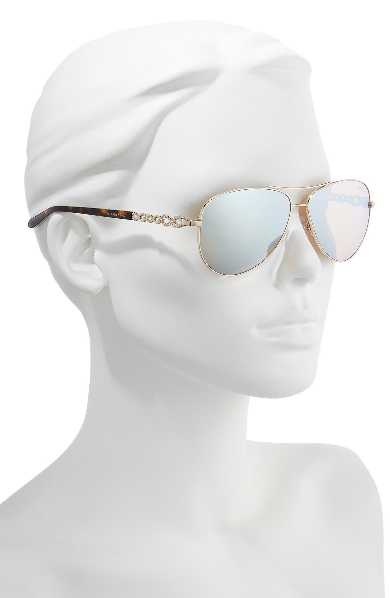 TIFFANY & CO., 58mm Aviator Sunglasses, Alternate thumbnail 2, color, GOLD/ WHITE MIRROR