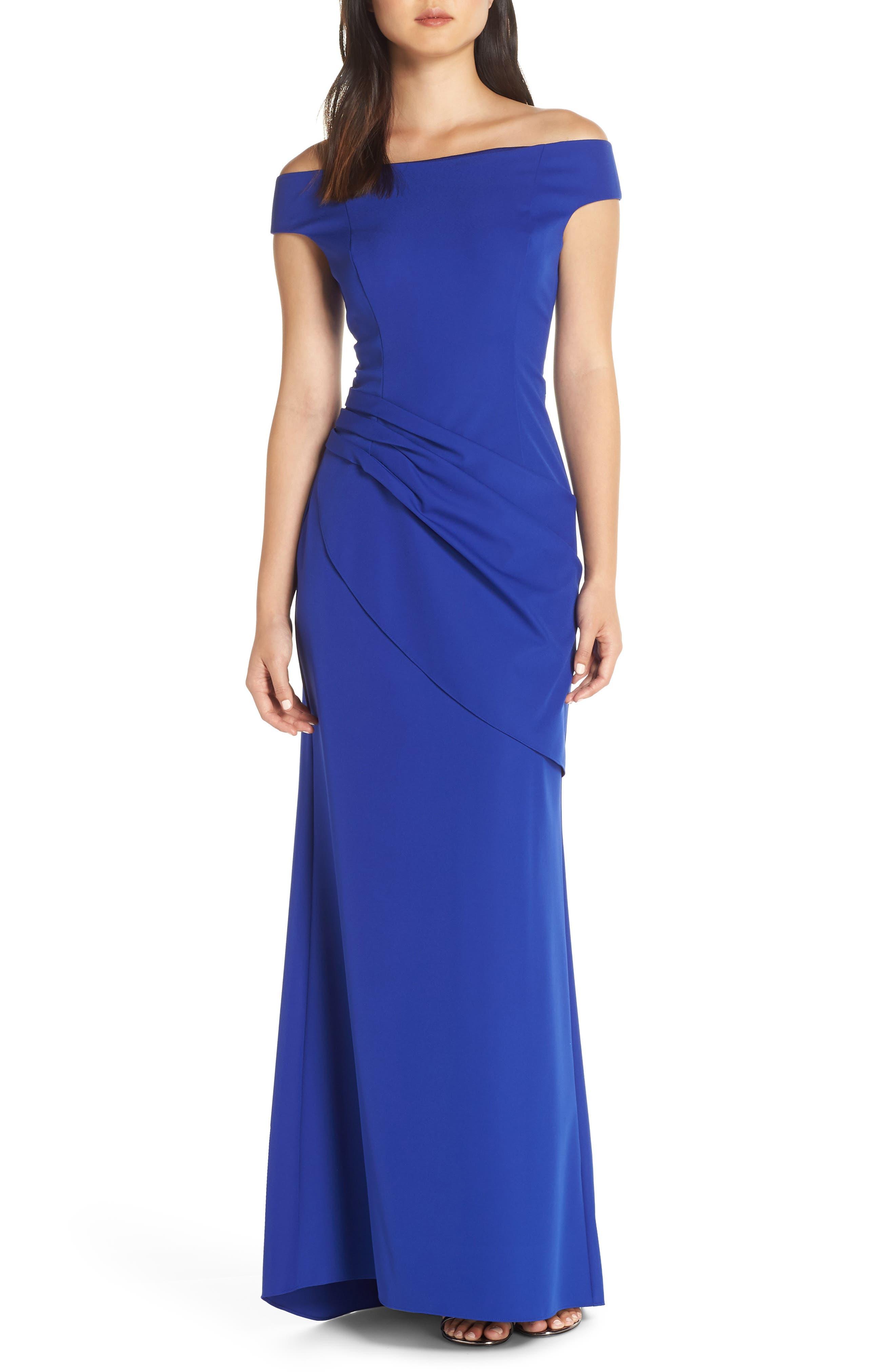 Petite Eliza J Draped Off The Shoulder Gown, Blue