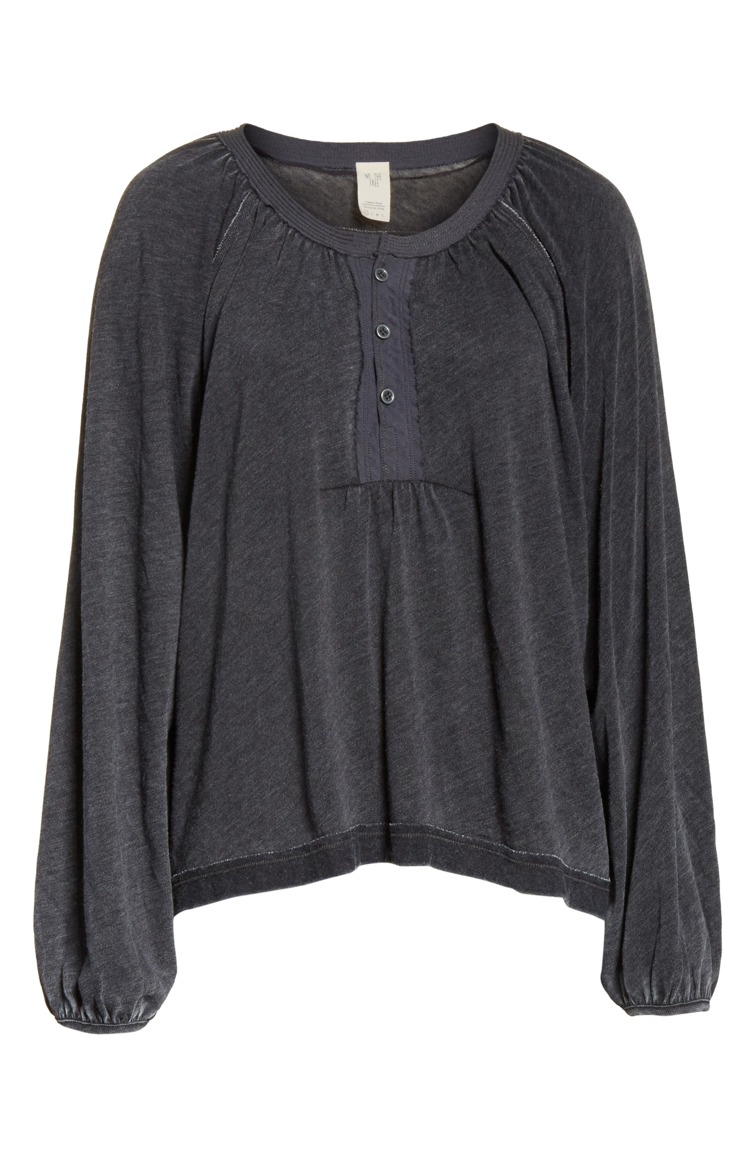FREE PEOPLE, Acadia Henley Top, Alternate thumbnail 6, color, 001