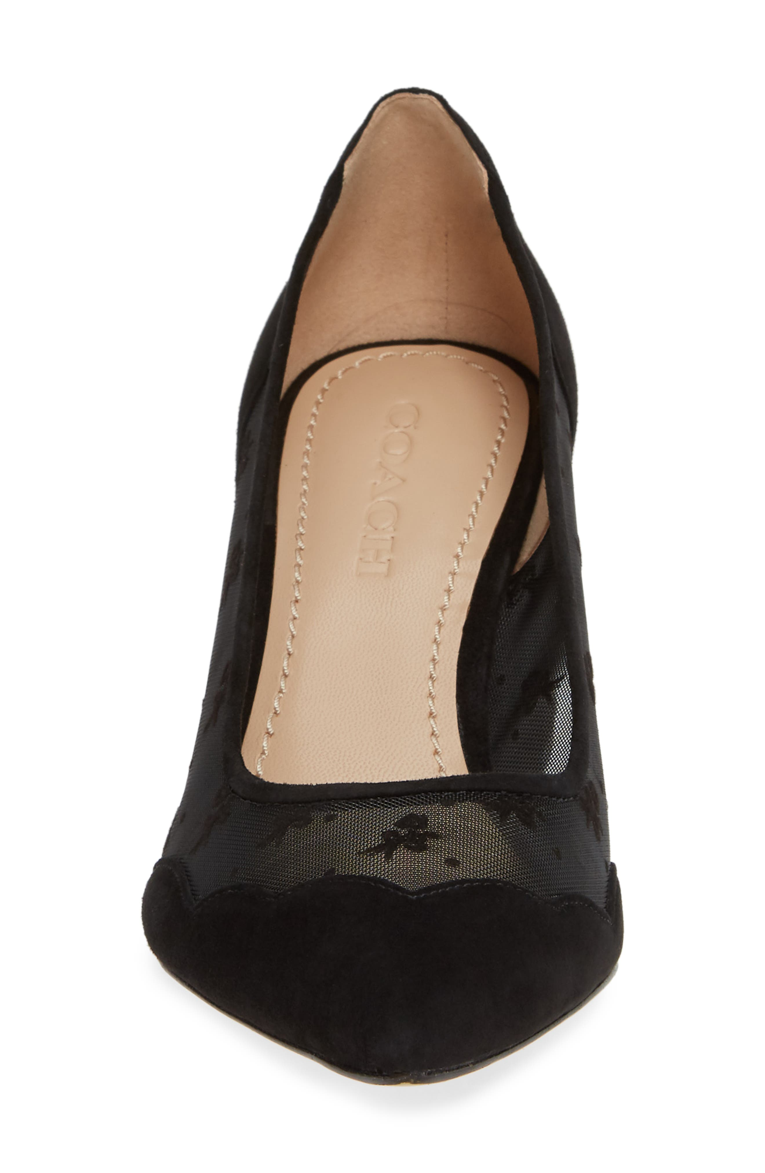 COACH, Whitley Scallop Pointy Toe Pump, Alternate thumbnail 4, color, BLACK SUEDE