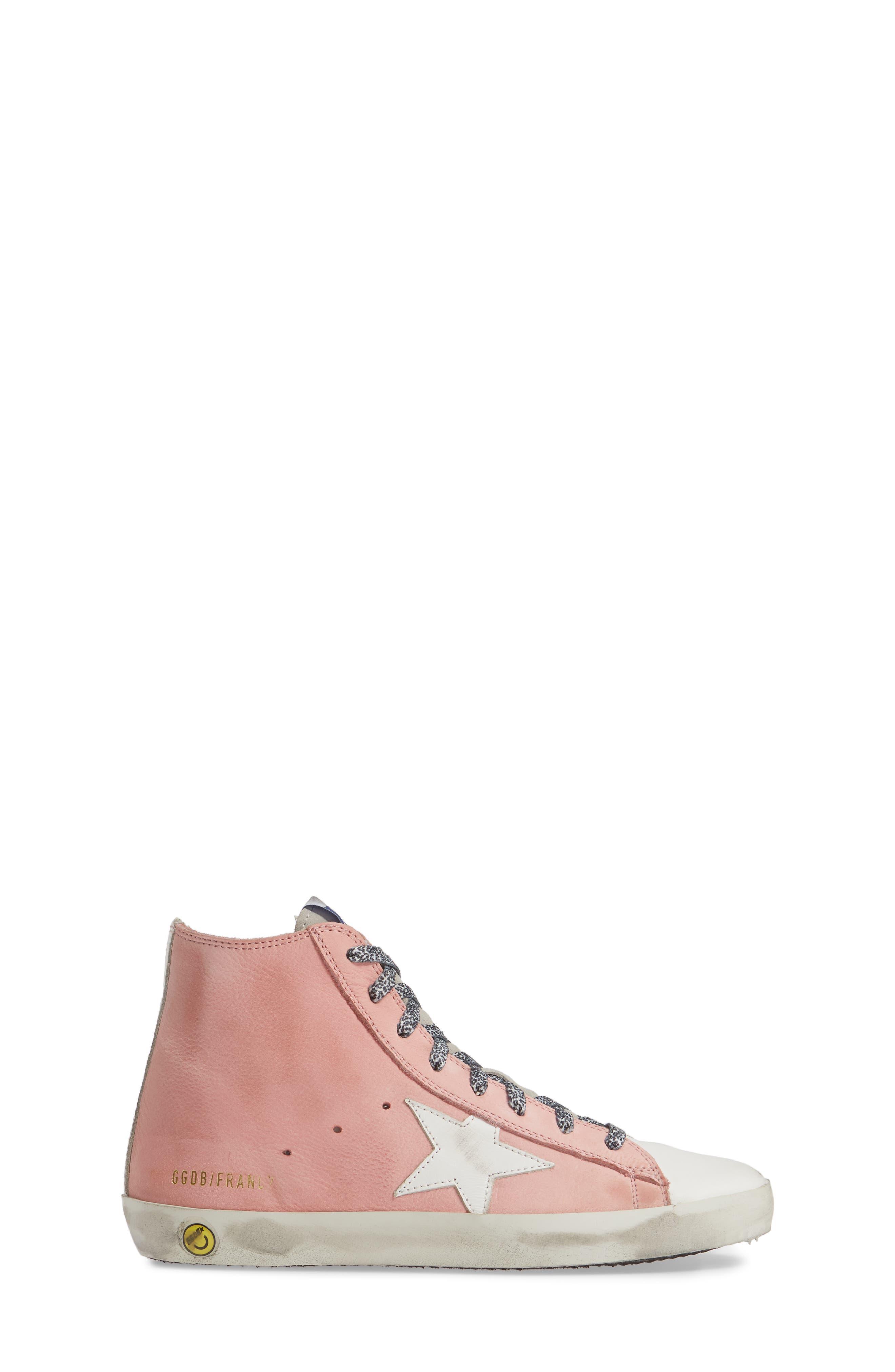 GOLDEN GOOSE, Francy High Top Sneaker, Alternate thumbnail 3, color, PINK PEONY