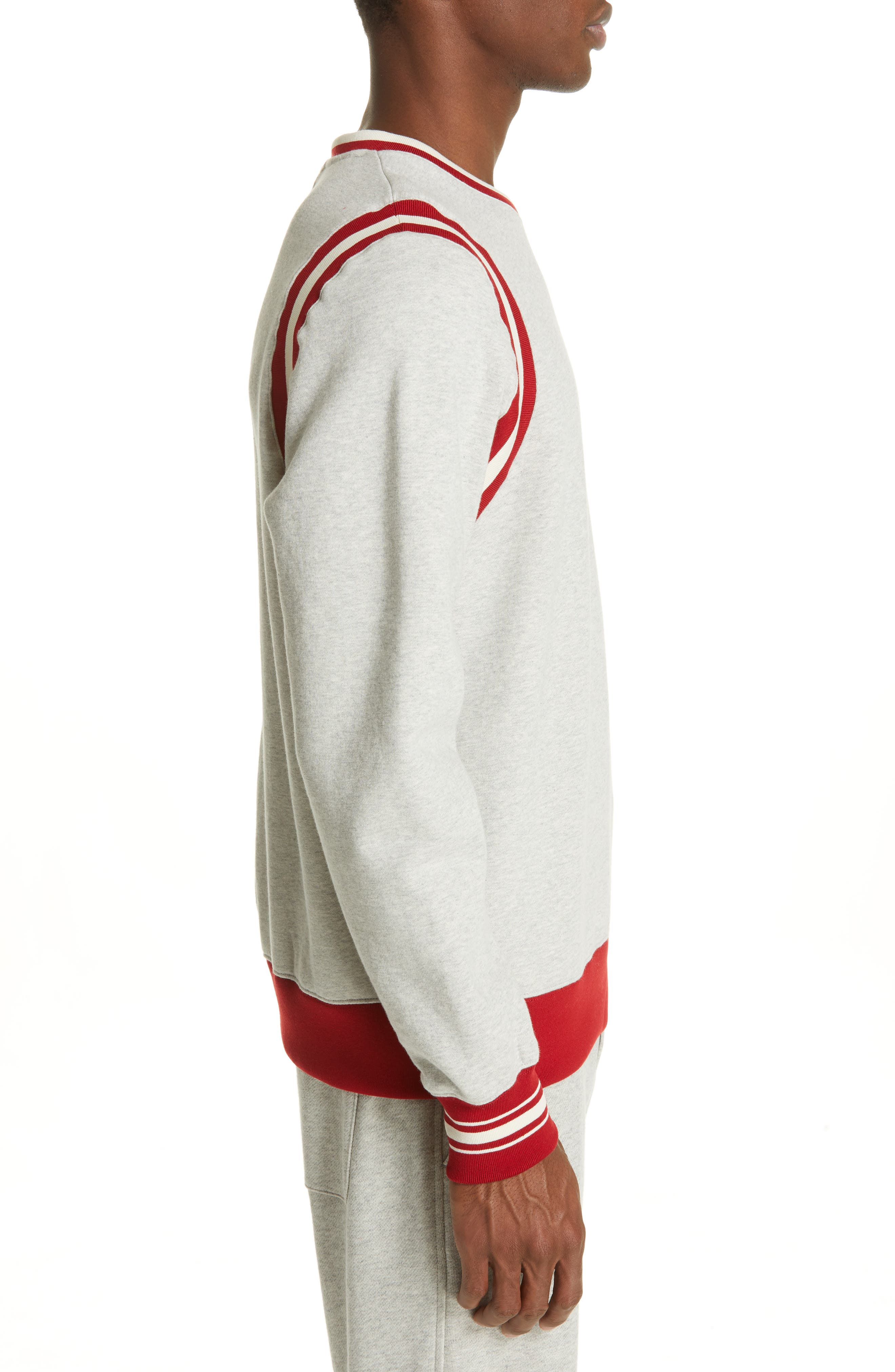 OVADIA & SONS, Varsity Sweatshirt, Alternate thumbnail 3, color, HEATHER GREY/RED