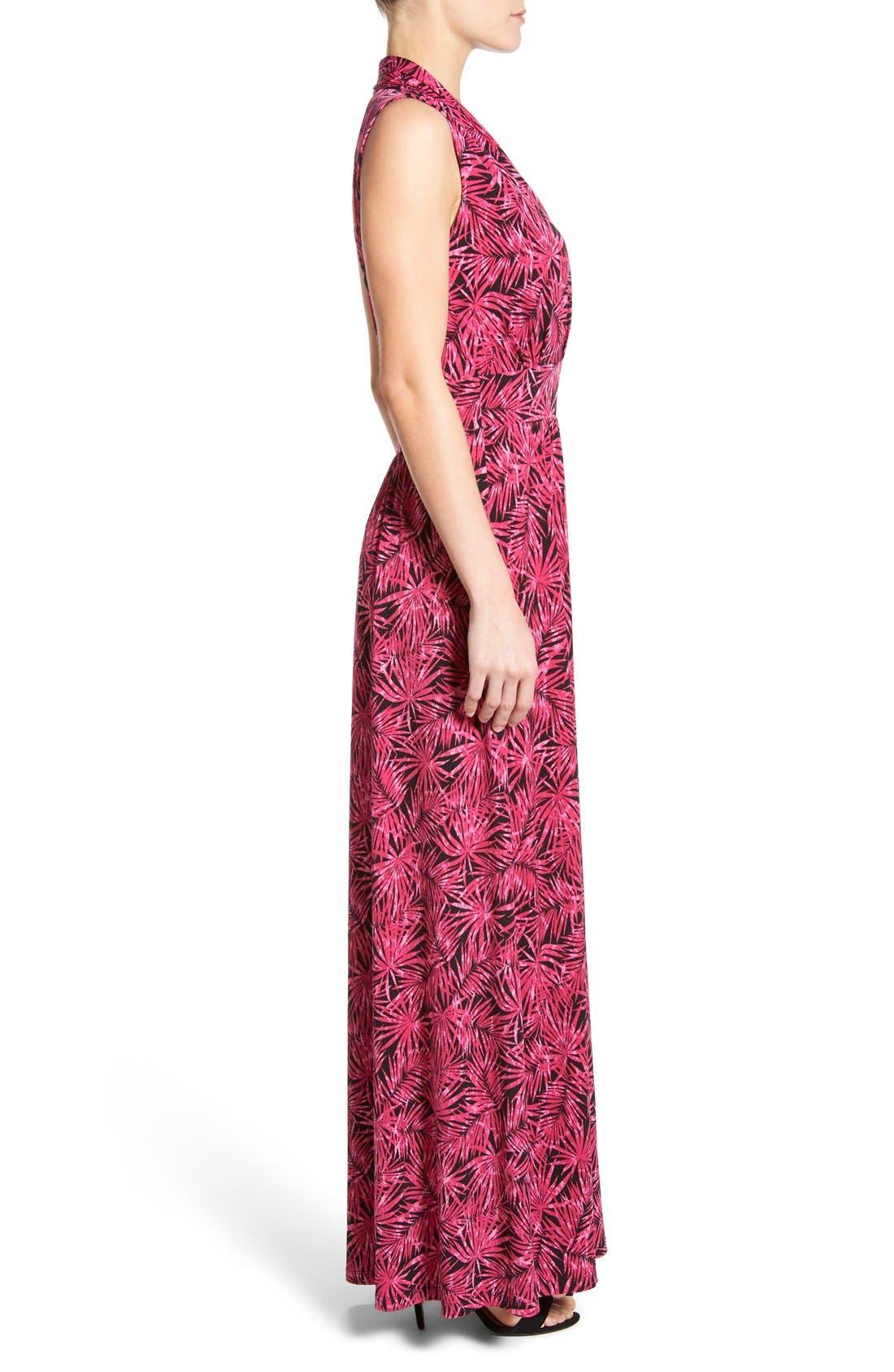 MICHAEL MICHAEL KORS, Print Jersey Side Slit Maxi Dress, Alternate thumbnail 3, color, 660