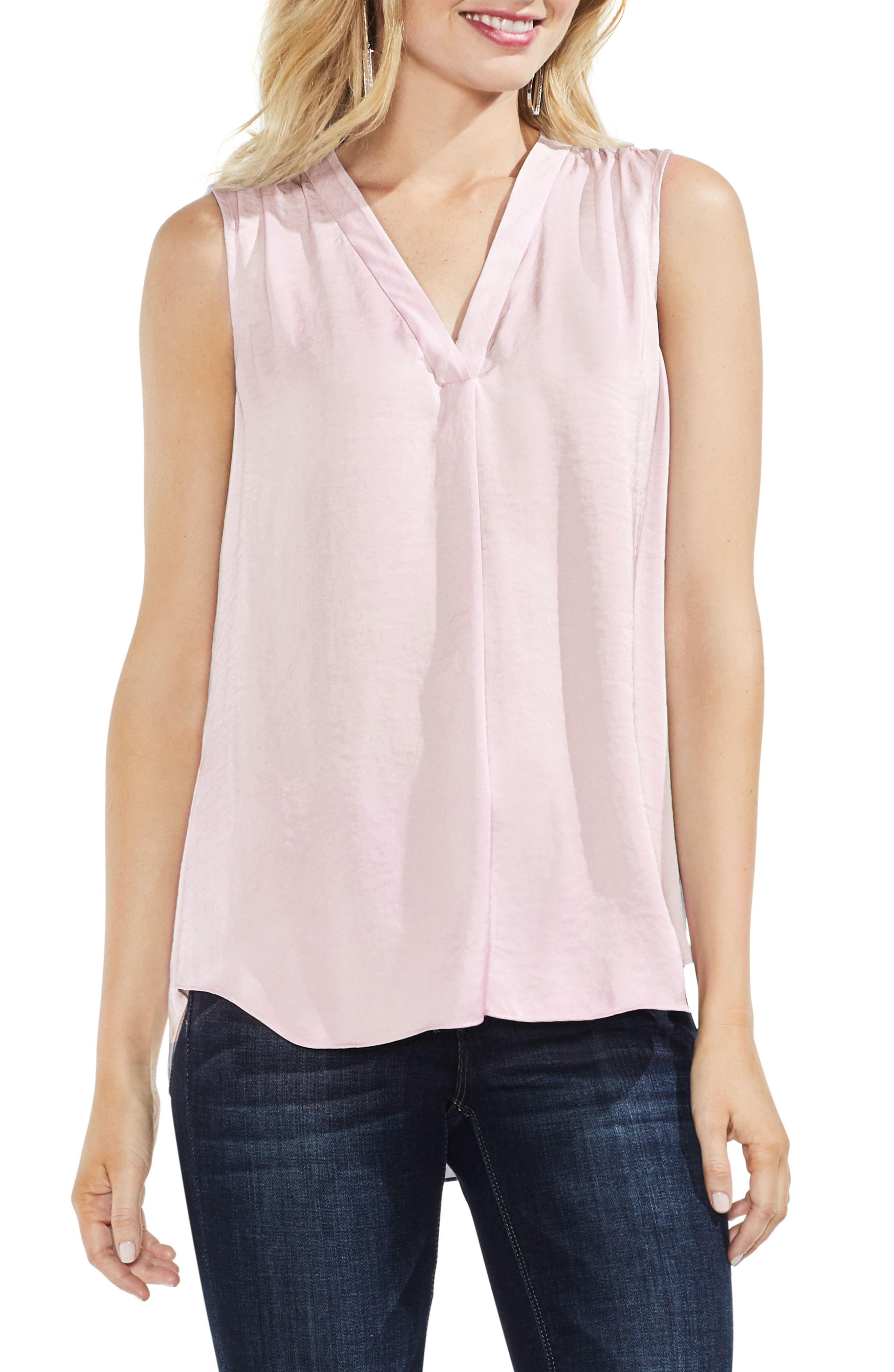 VINCE CAMUTO Rumpled Satin Blouse, Main, color, PINK BLISS