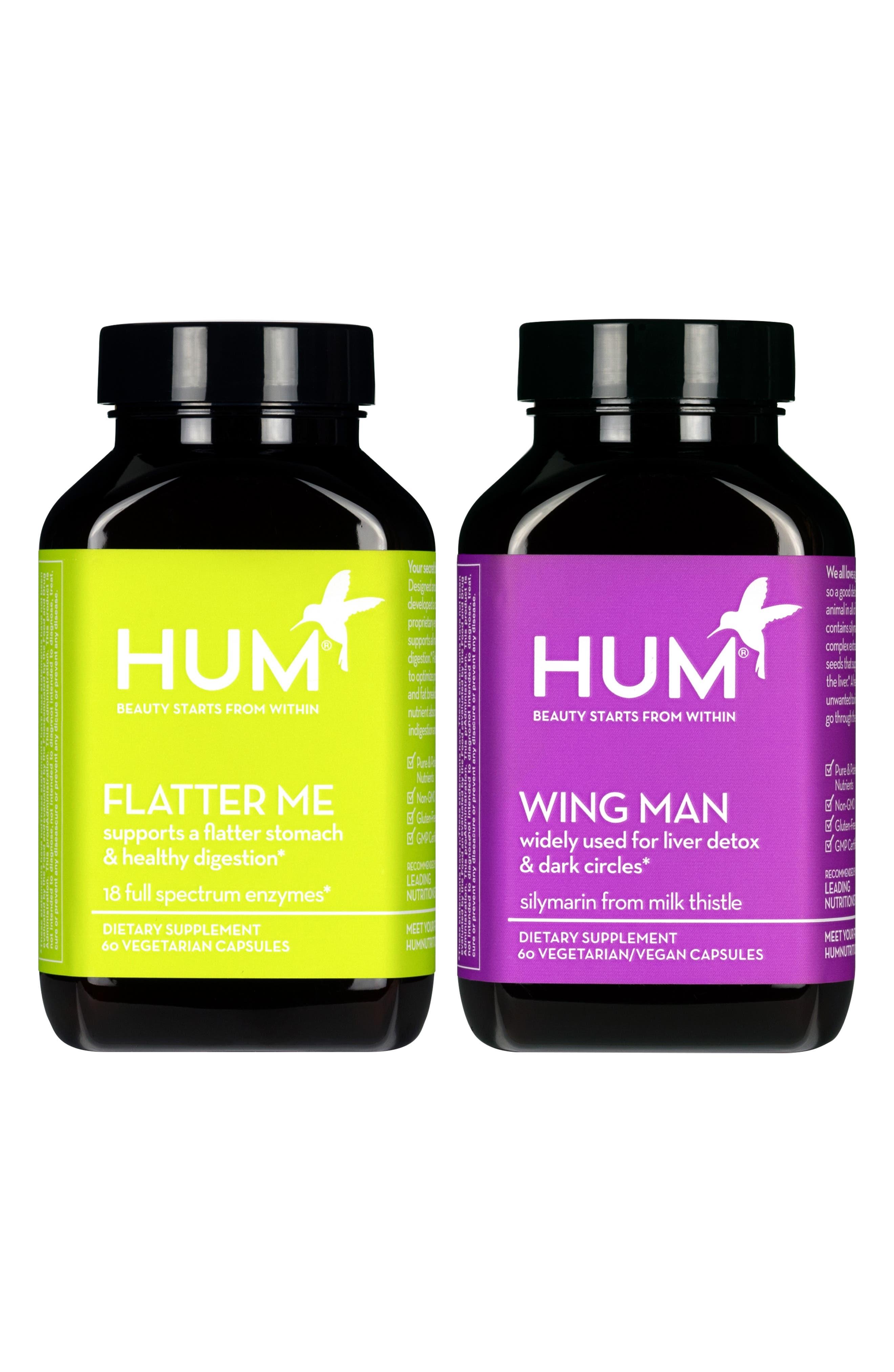 HUM NUTRITION, Wing Man + Flatter Me Dietary Supplement Set, Main thumbnail 1, color, NO COLOR