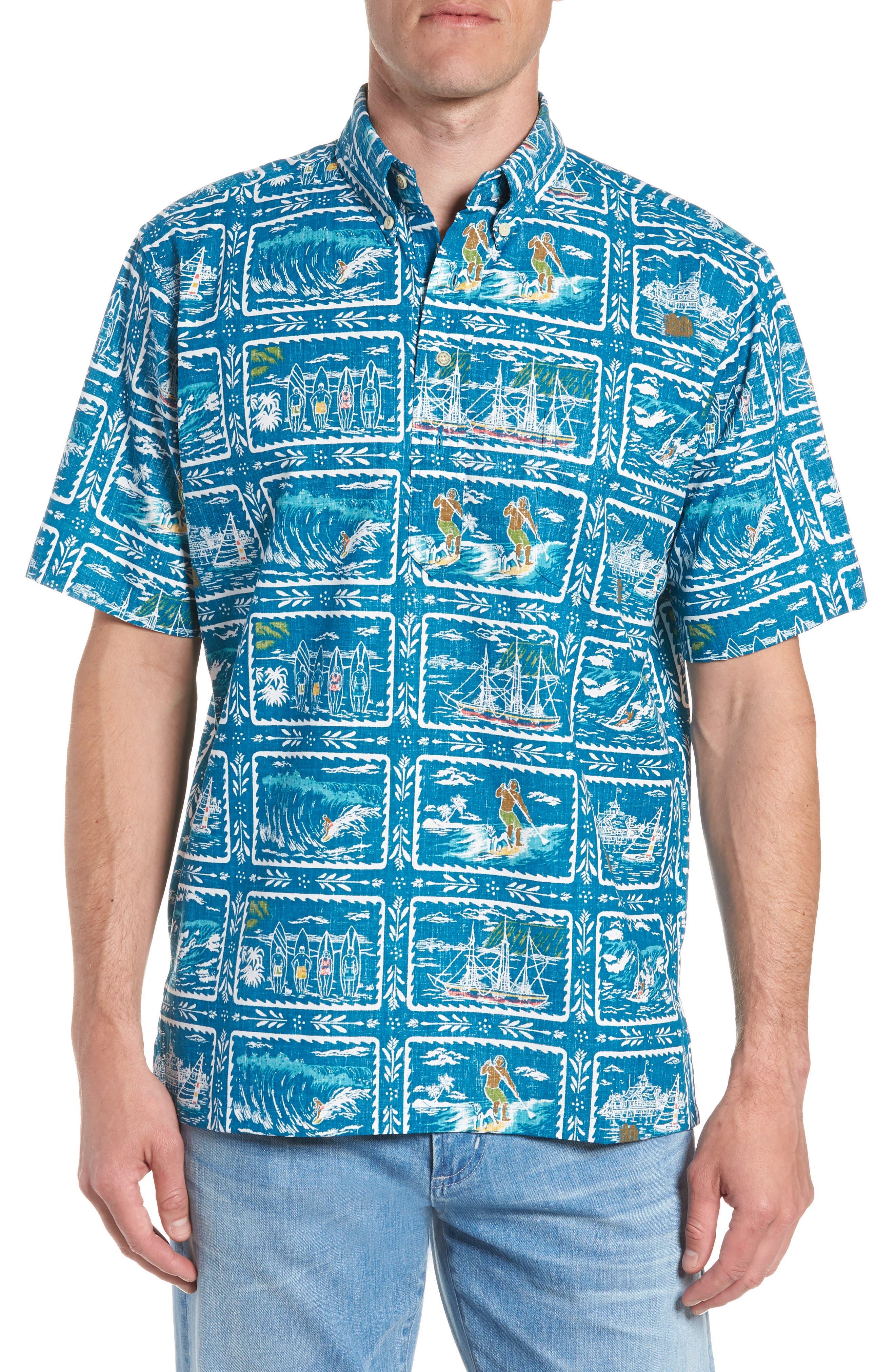 REYN SPOONER, Hawaiian Sports Classic Fit Pullover Sport Shirt, Main thumbnail 1, color, BLUE