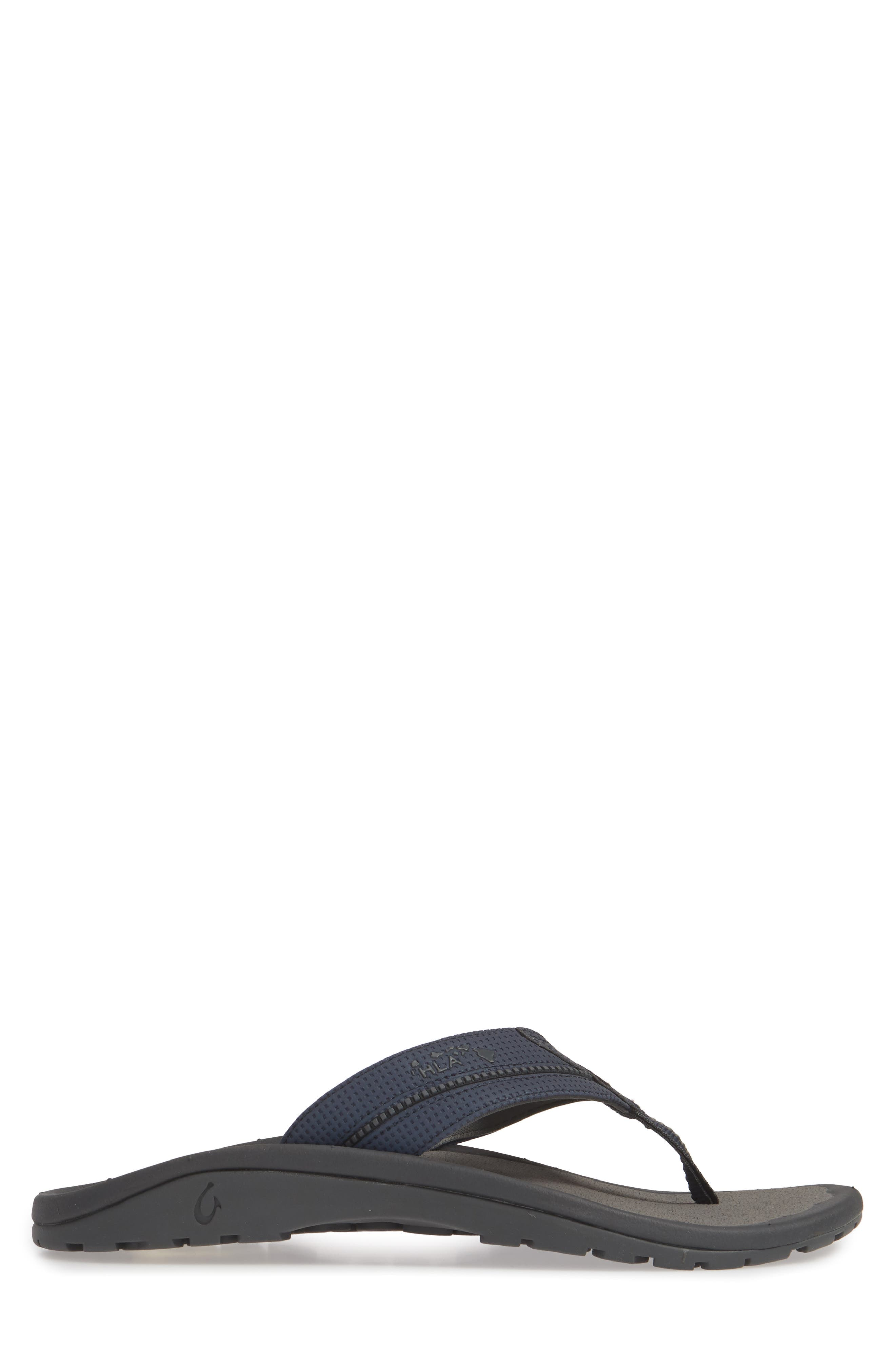 OLUKAI, 'Kia'i II' Flip Flop, Alternate thumbnail 3, color, TRENCH BLUE/ CHARCOAL