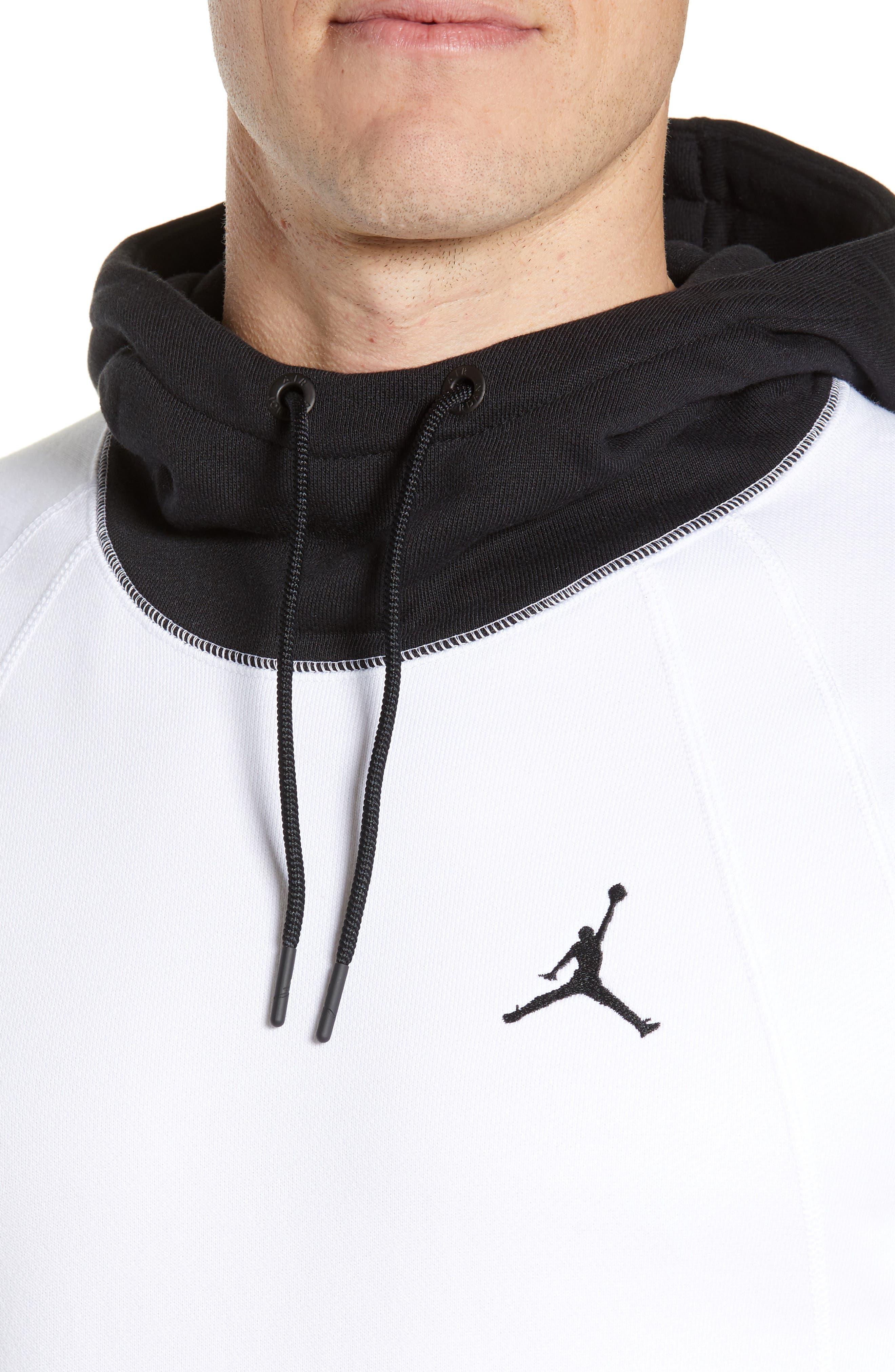 JORDAN, Sportswear Greatest Fleece Pullover Hoodie, Alternate thumbnail 5, color, WHITE/ BLACK