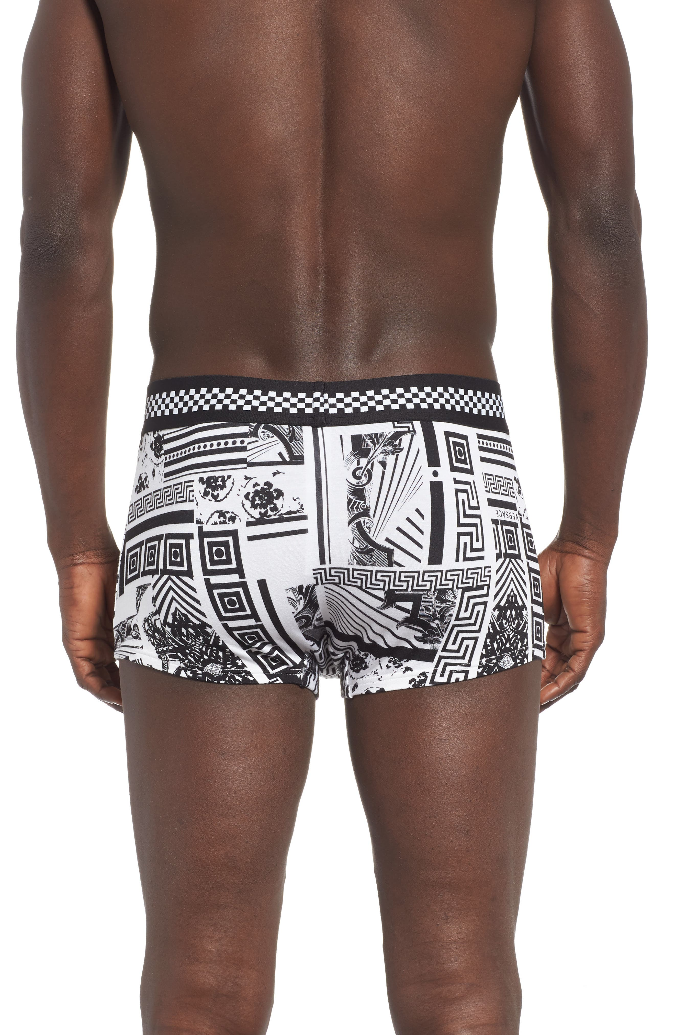 VERSACE COLLECTION, Low Rise Trunks, Alternate thumbnail 2, color, BLACK/ WHITE
