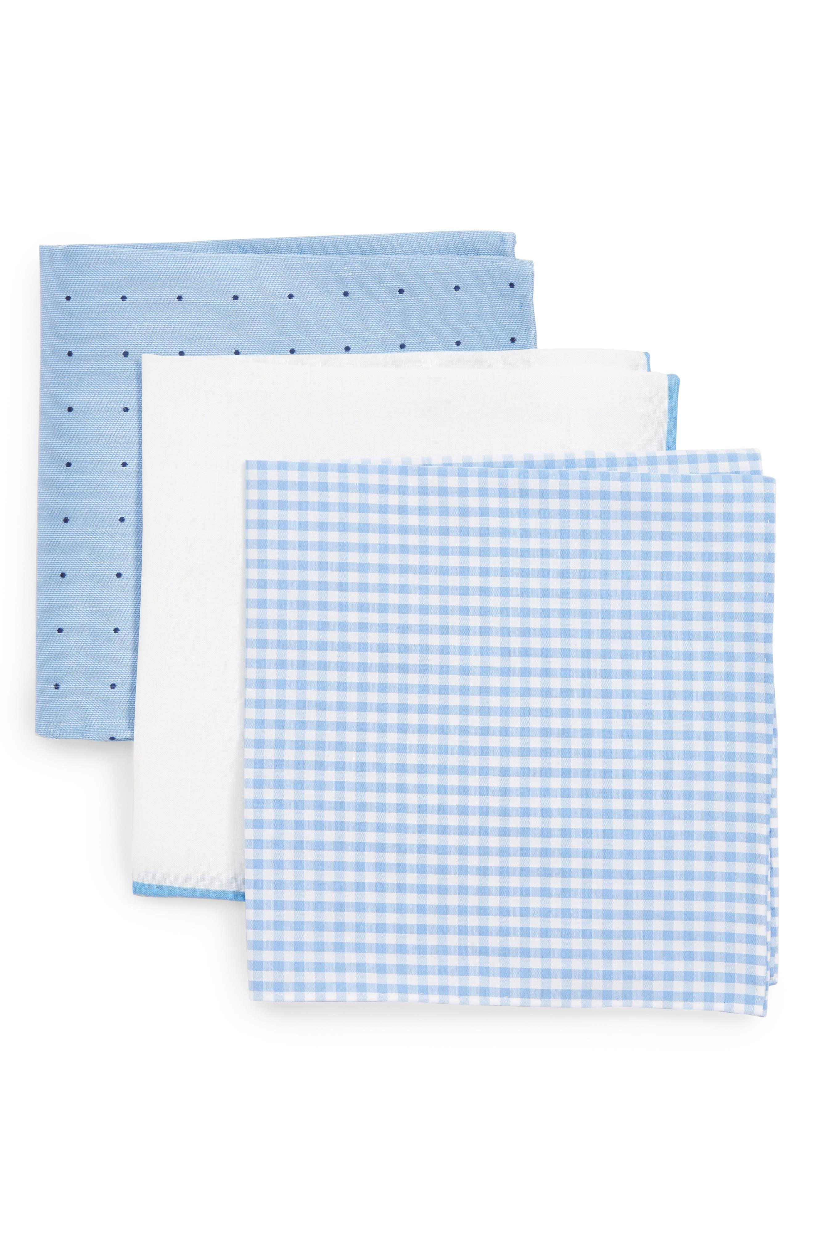 THE TIE BAR, 3-Pack Pocket Squares, Main thumbnail 1, color, LIGHT BLUE