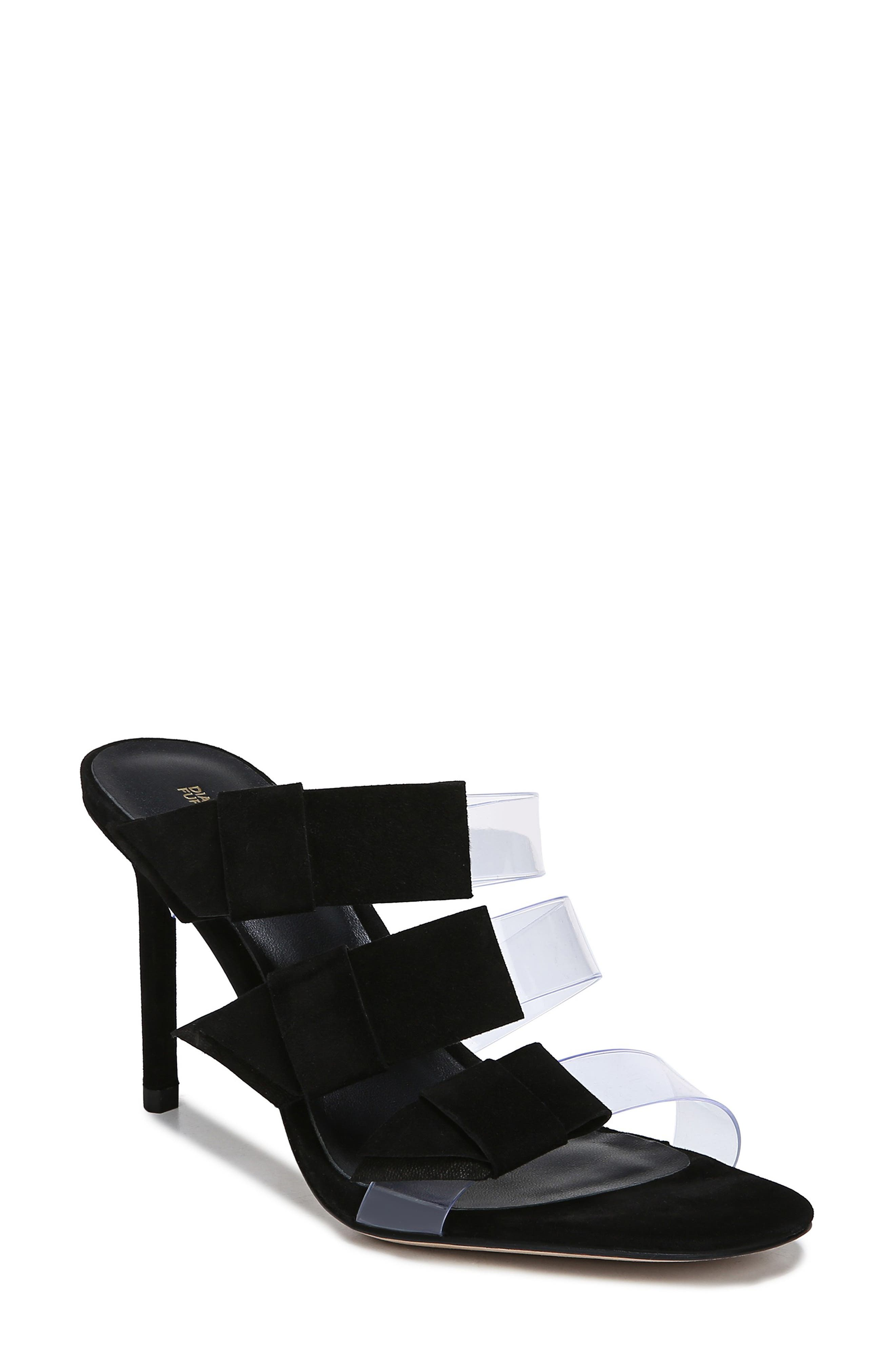 Diane Von Furstenberg Amari Triple Strap Sandal- Black