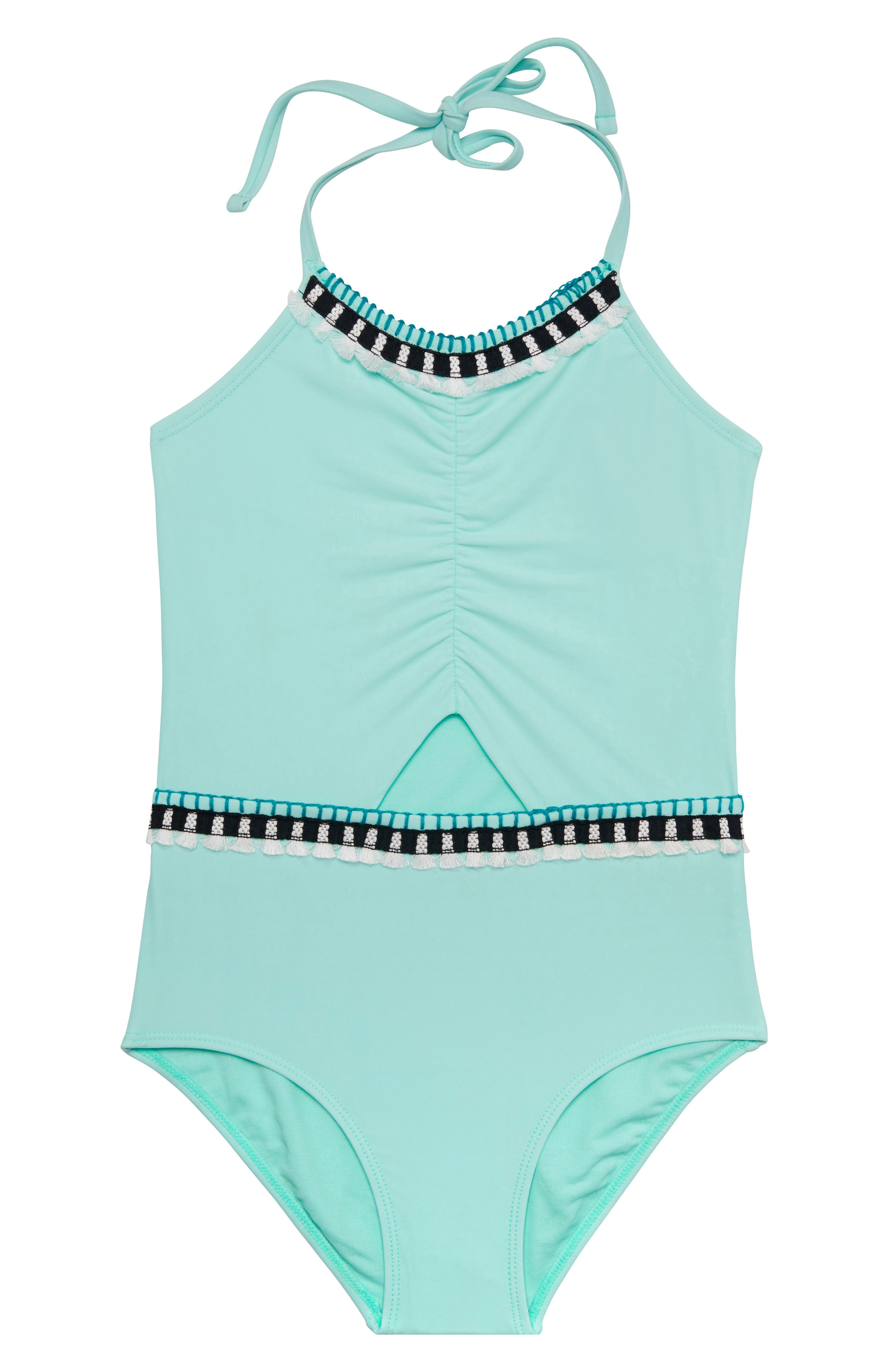 GOSSIP GIRL, Tassel Party One-Piece Swimsuit, Main thumbnail 1, color, BLUE