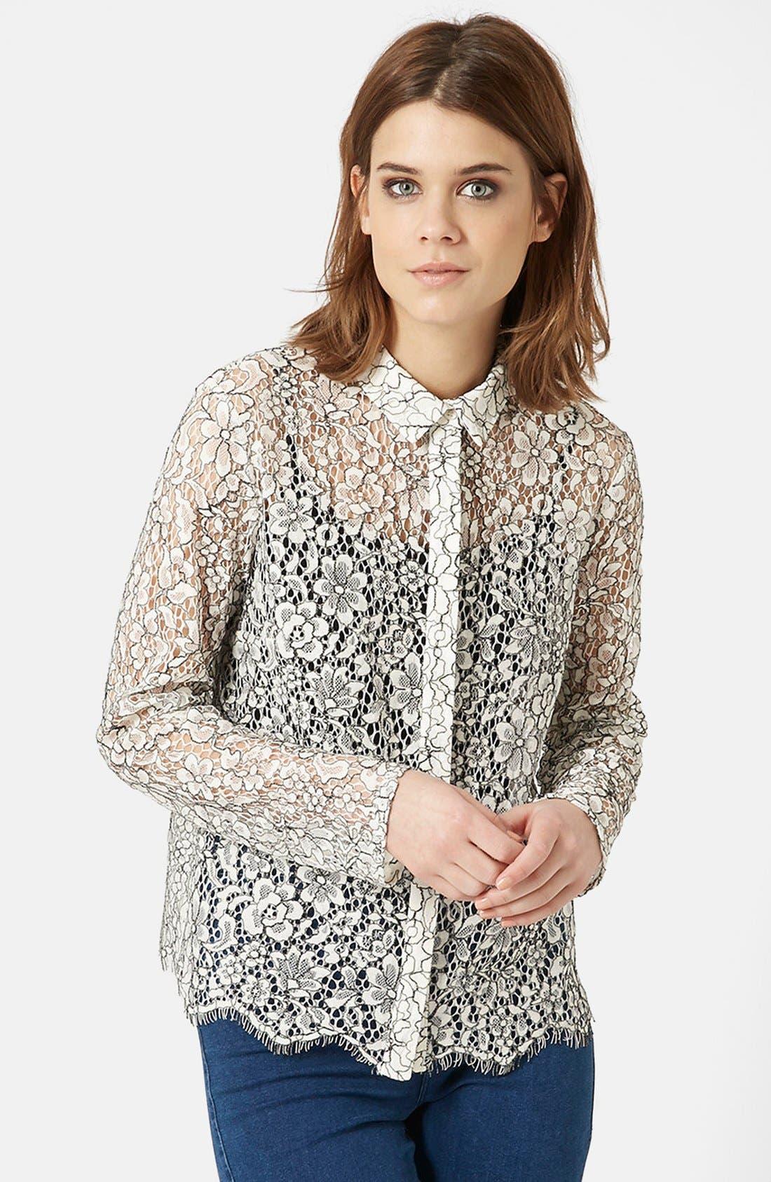 TOPSHOP Scallop Lace Shirt, Main, color, 900