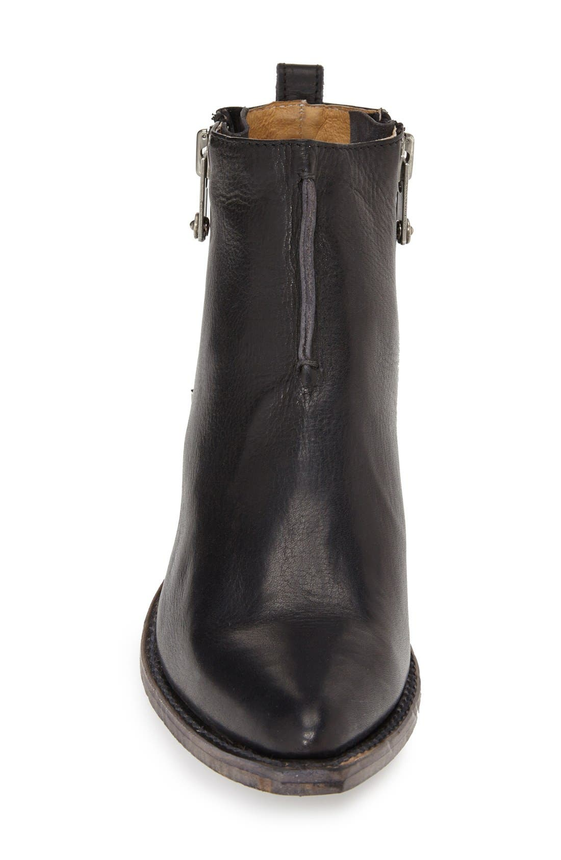 FRYE, 'Sacha' Washed Leather Ankle Boot, Alternate thumbnail 4, color, BLACK