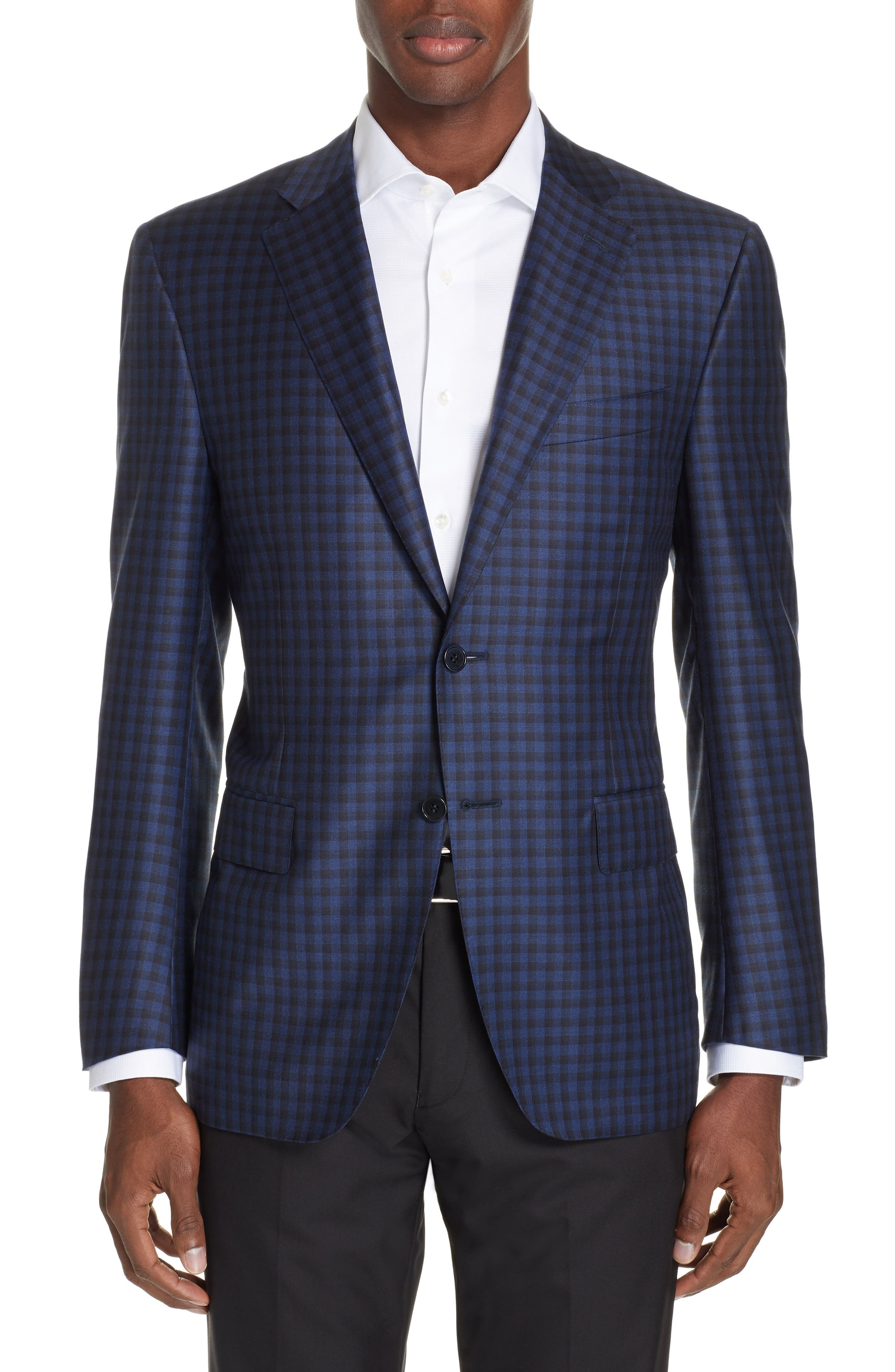 CANALI, Classic Fit Check Wool Sport Coat, Main thumbnail 1, color, BLUE
