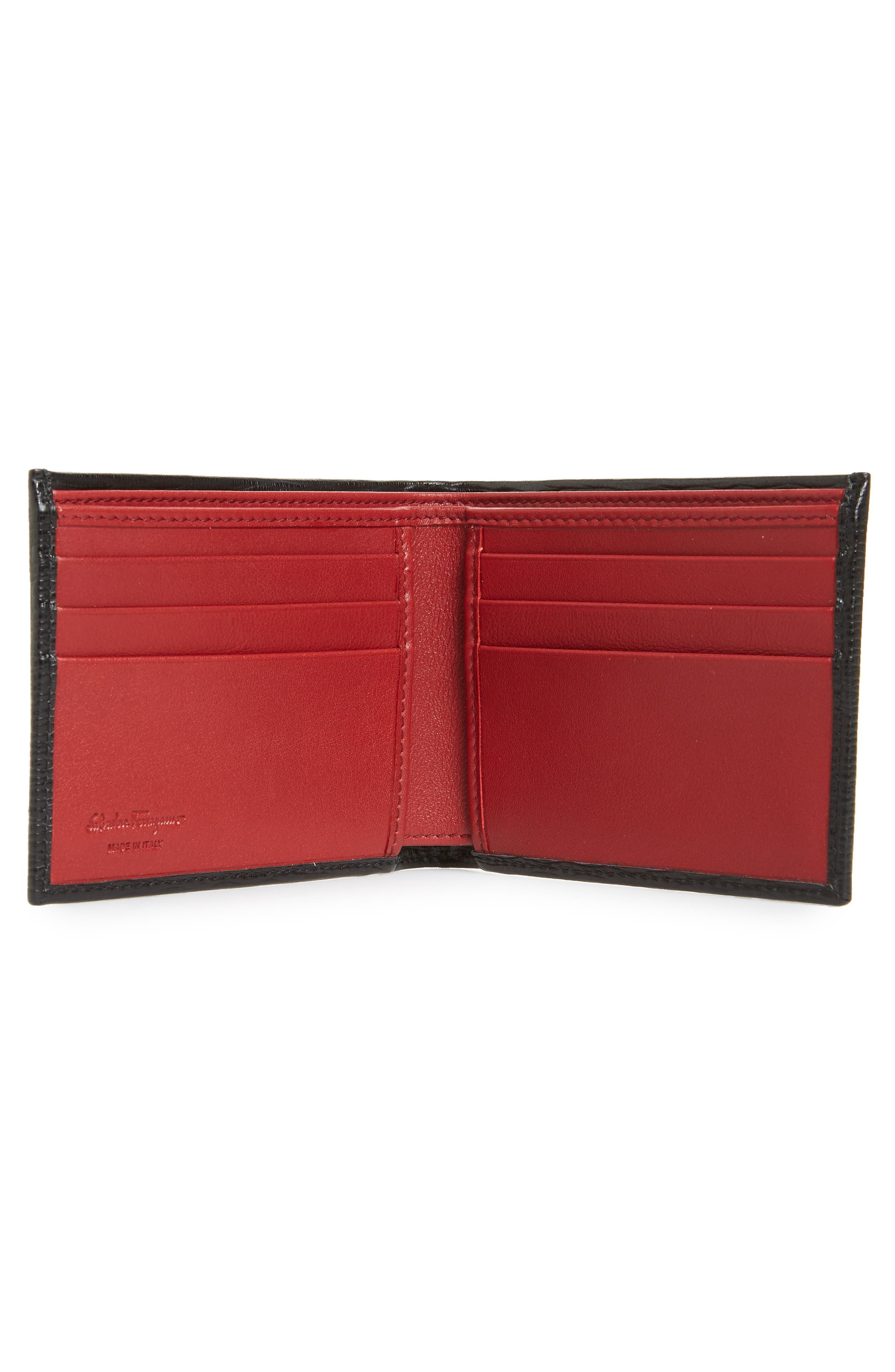 SALVATORE FERRAGAMO, Revival Leather Card Case, Alternate thumbnail 2, color, BLACK