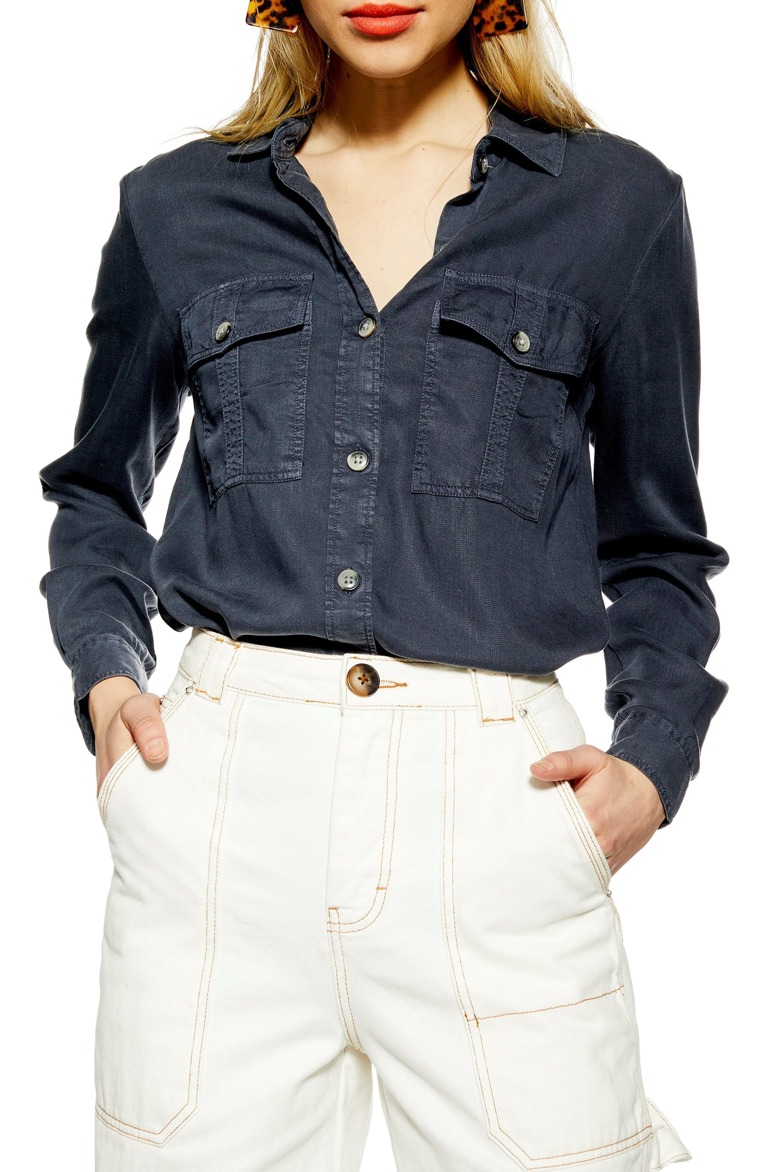 TOPSHOP Kate Utility Shirt, Main, color, WASHED BLACK