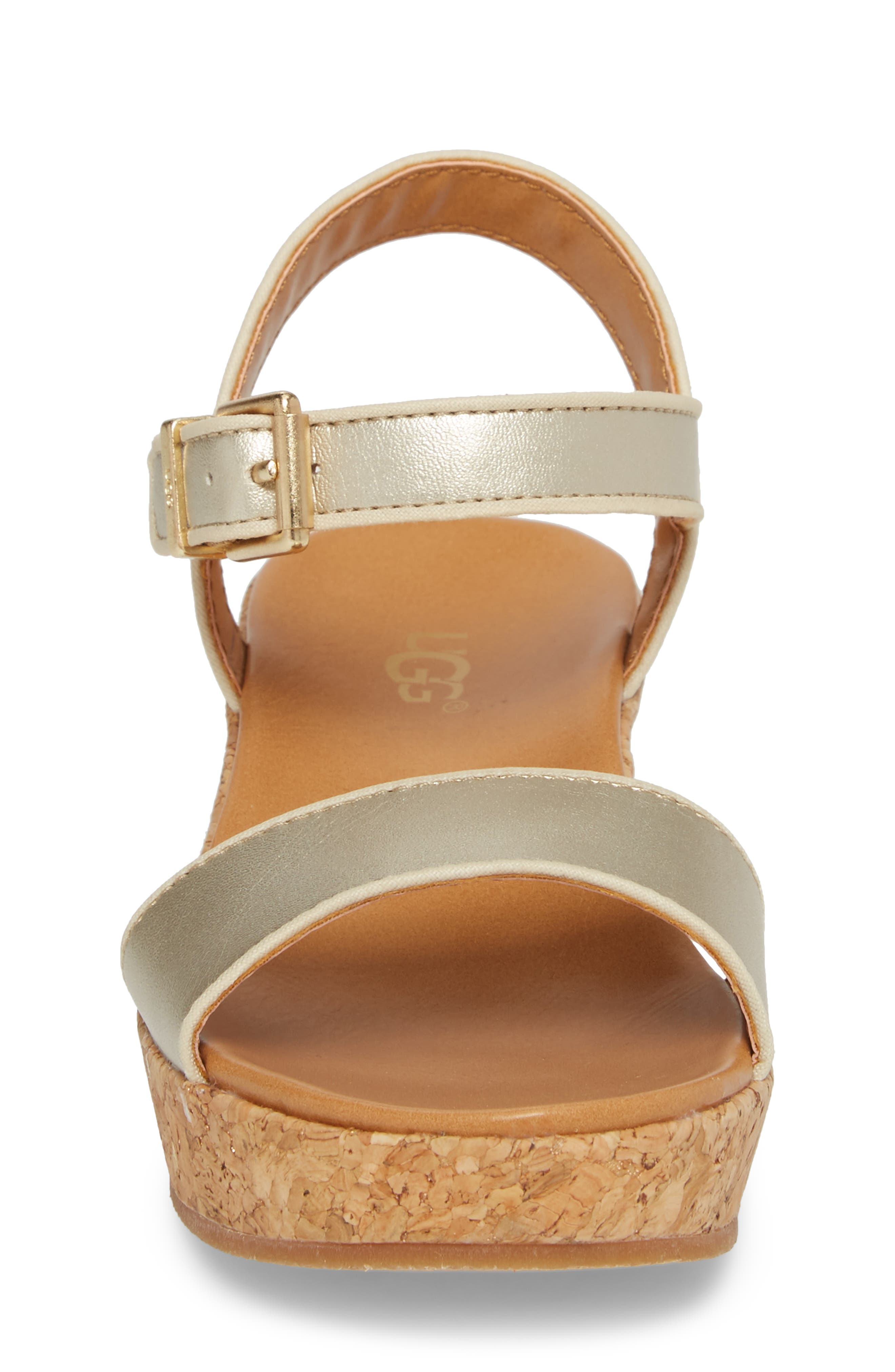 UGG<SUP>®</SUP>, Milley Wedge Sandal, Alternate thumbnail 4, color, GOLD