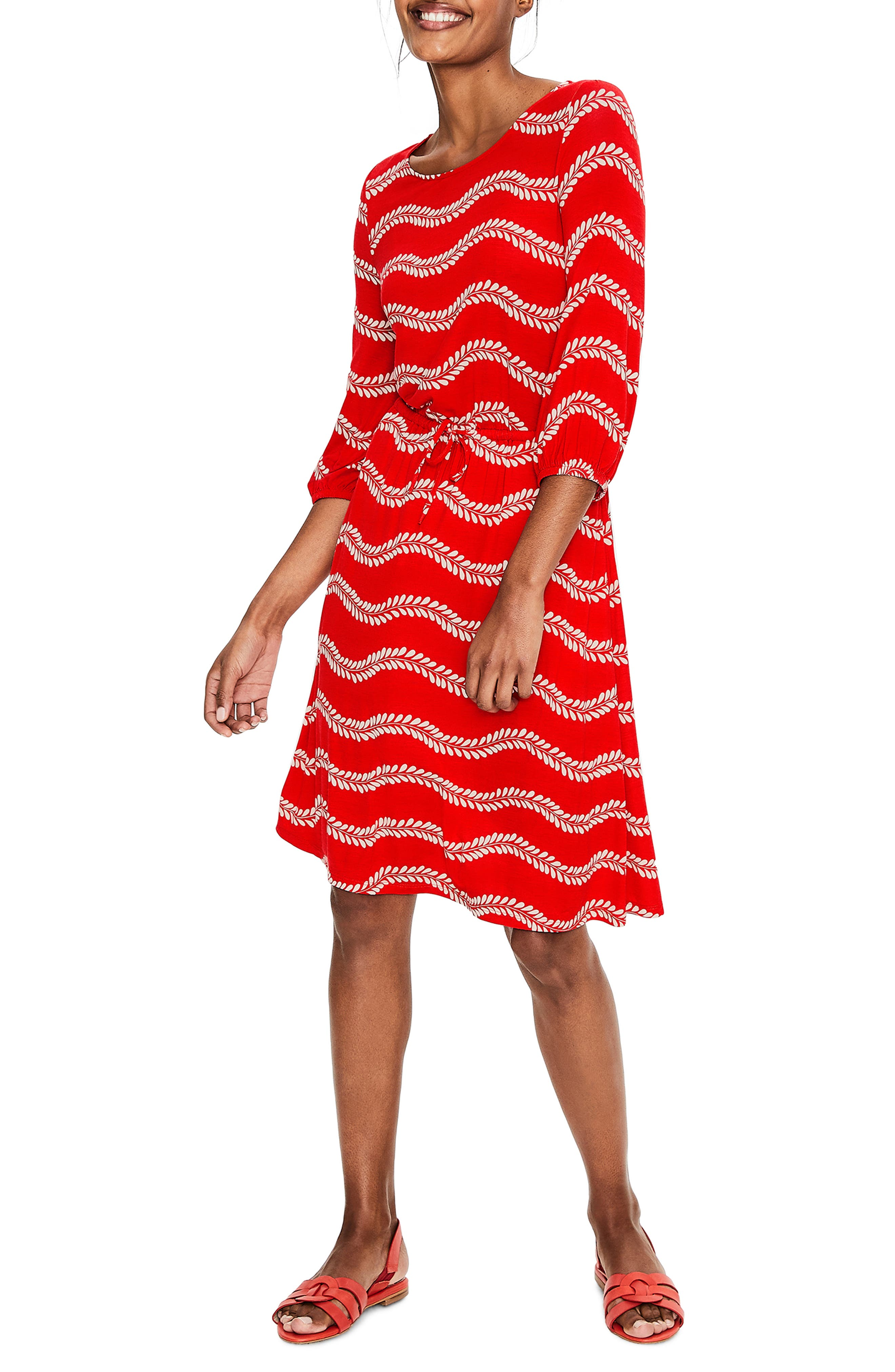 Petite Boden Talia Jersey Dress, Red