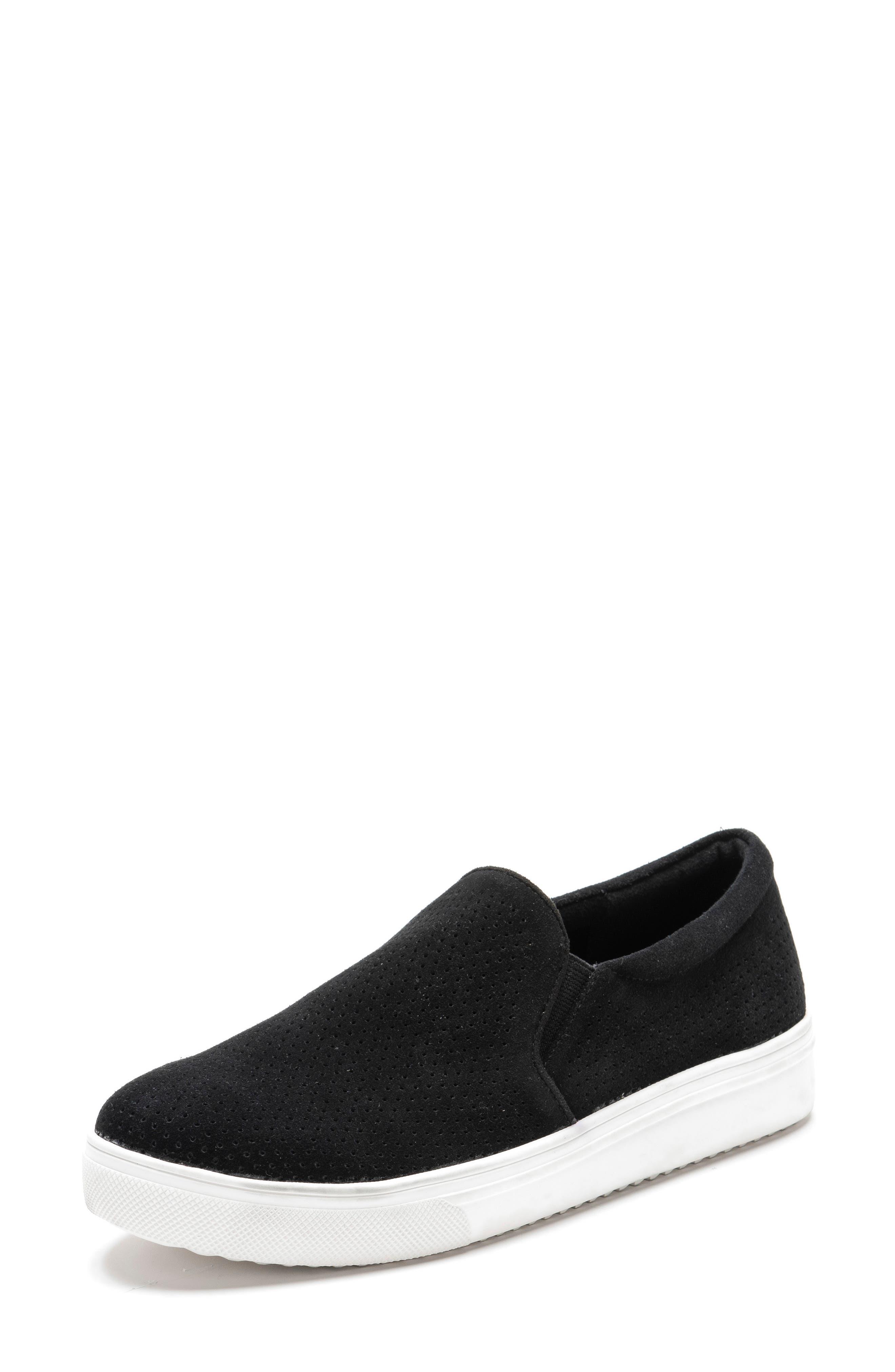 BLONDO, Gallert Perforated Waterproof Platform Sneaker, Alternate thumbnail 8, color, BLACK SUEDE