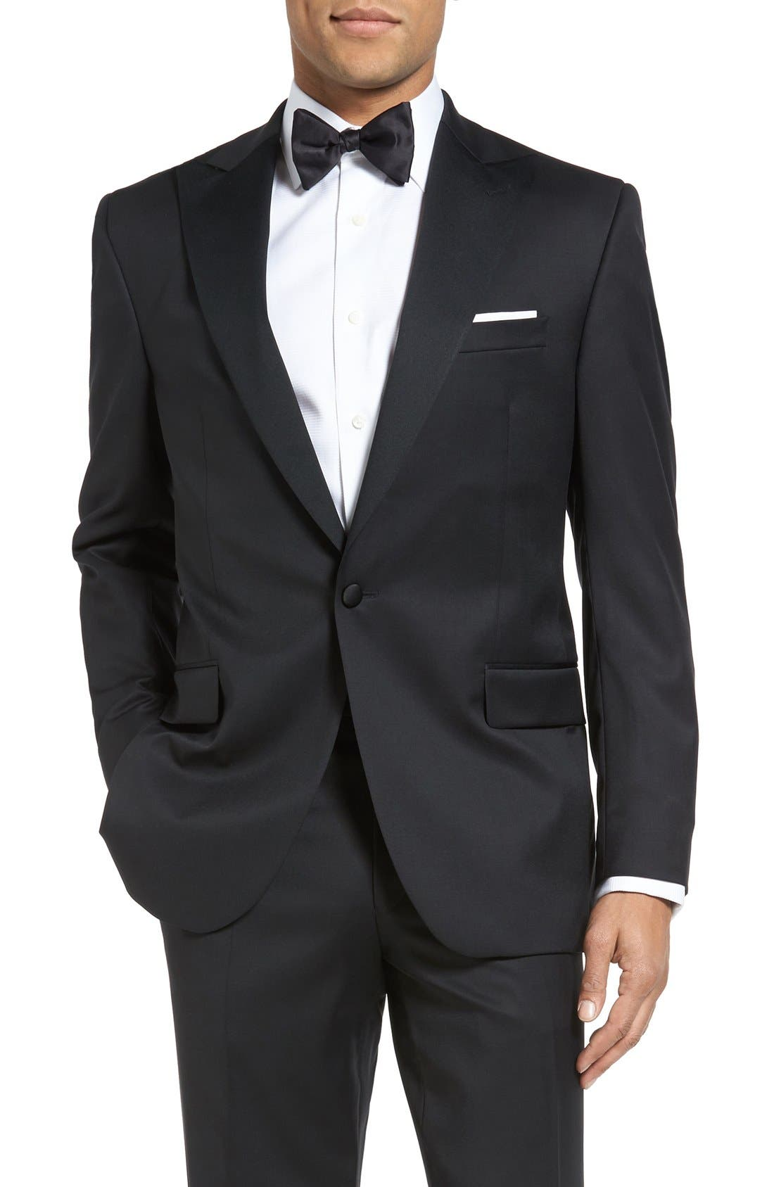 DAVID DONAHUE, Russell Classic Fit Loro Piana Wool Tuxedo, Alternate thumbnail 6, color, BLACK