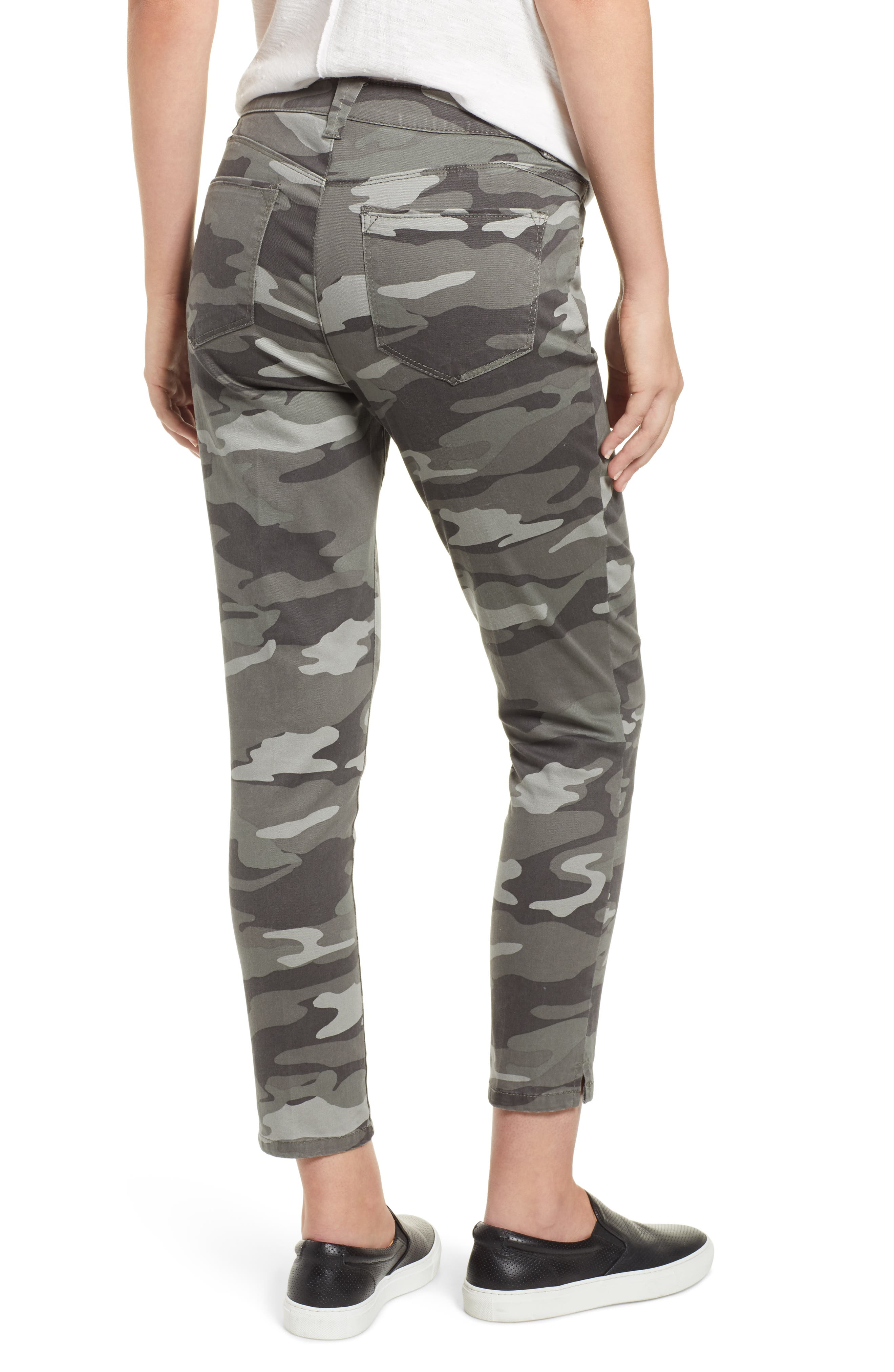 WIT & WISDOM, Ab-Solution Camo High Waist Ankle Skinny Pants, Alternate thumbnail 2, color, SAGE CAMO