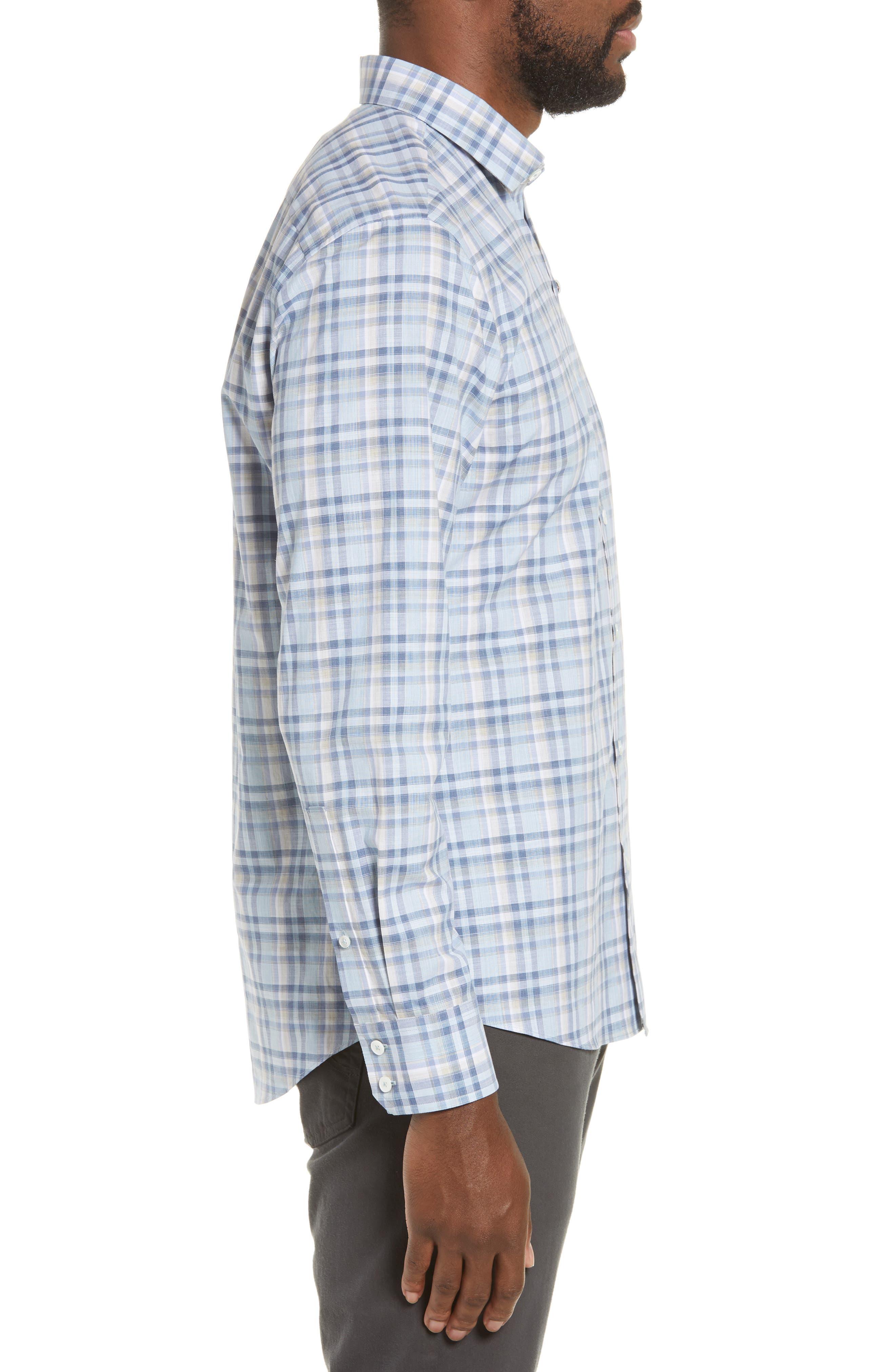 ZACHARY PRELL, Anthony Regular Fit Plaid Sport Shirt, Alternate thumbnail 4, color, LT BLUE