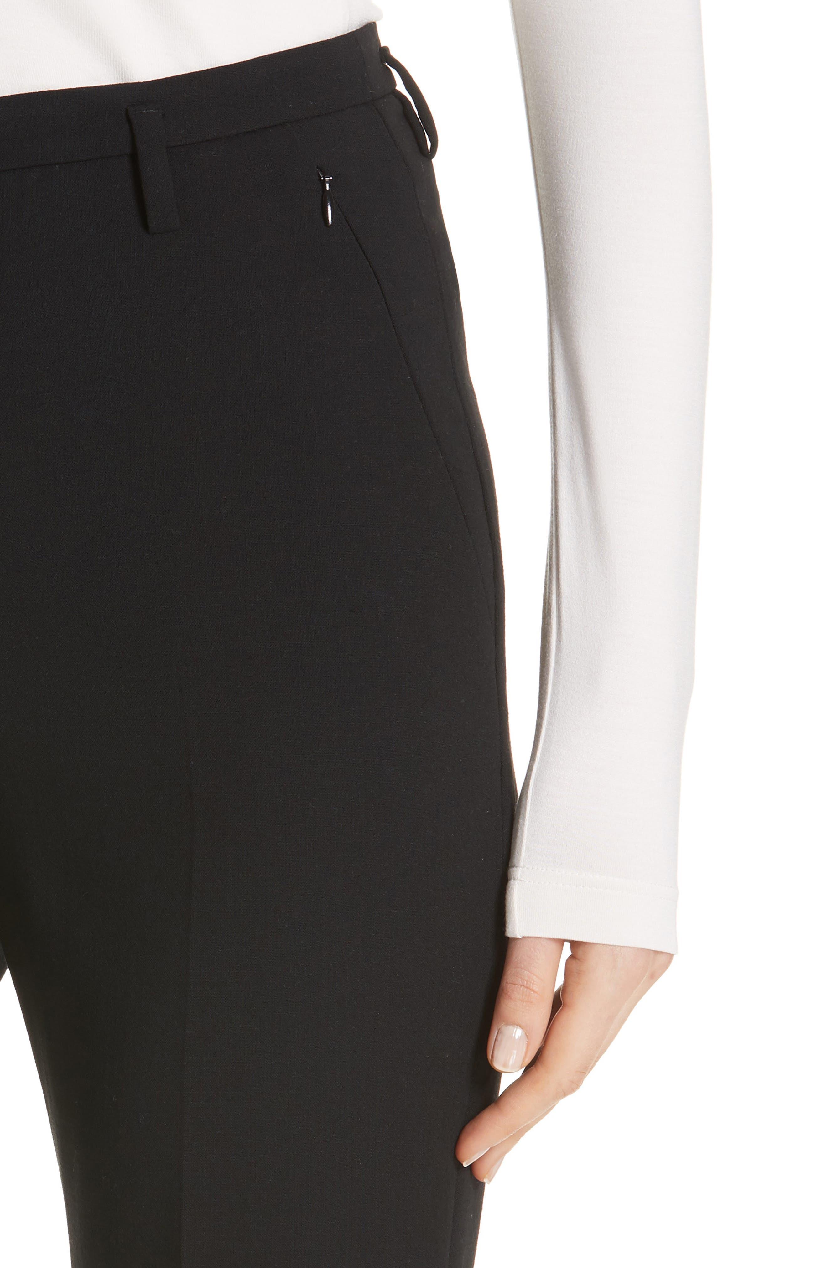 AKRIS, Farrah Stretch Wool Flare Pants, Alternate thumbnail 4, color, BLACK