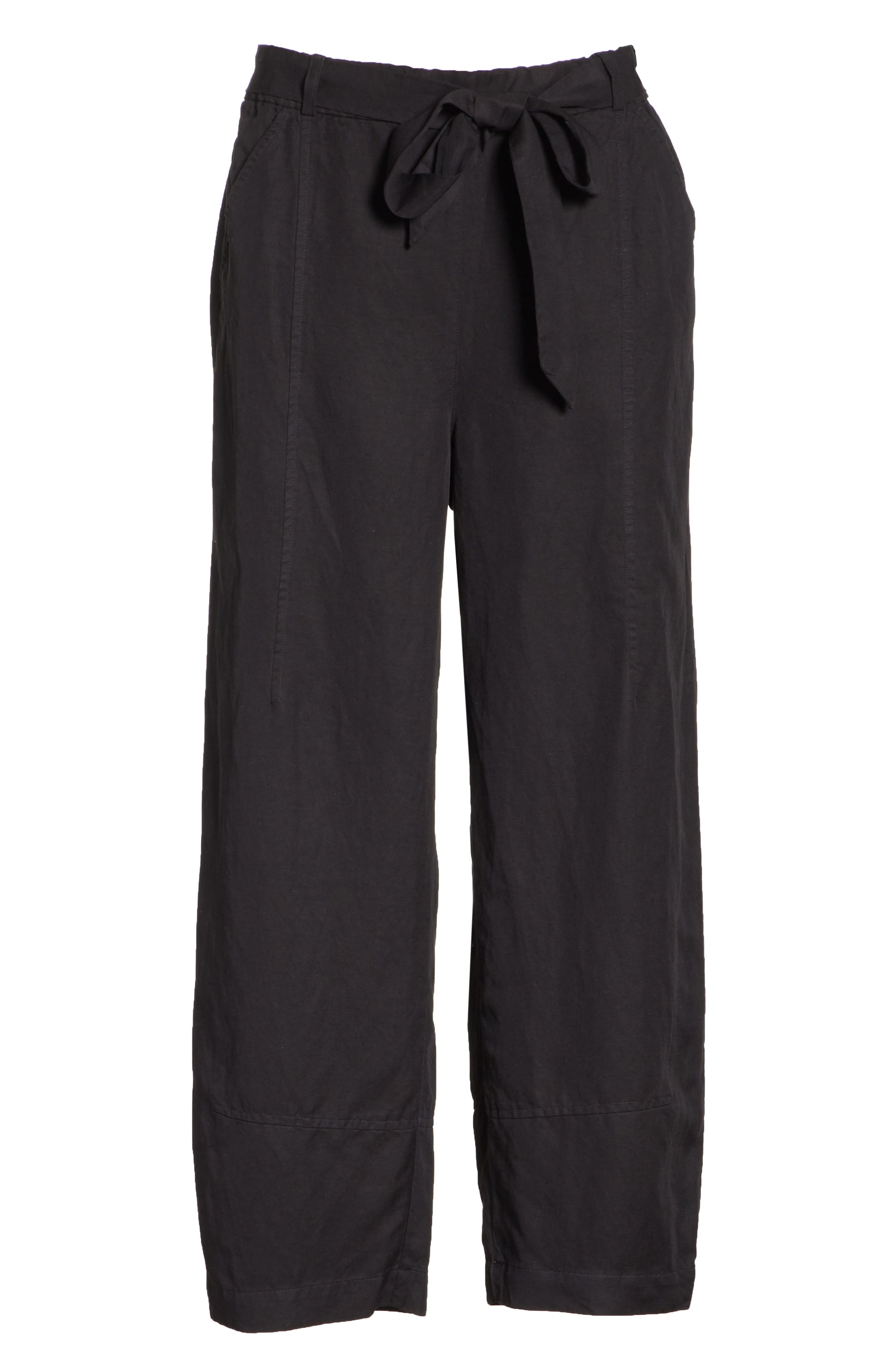 EILEEN FISHER, Lantern Twill Ankle Pants, Alternate thumbnail 7, color, 001