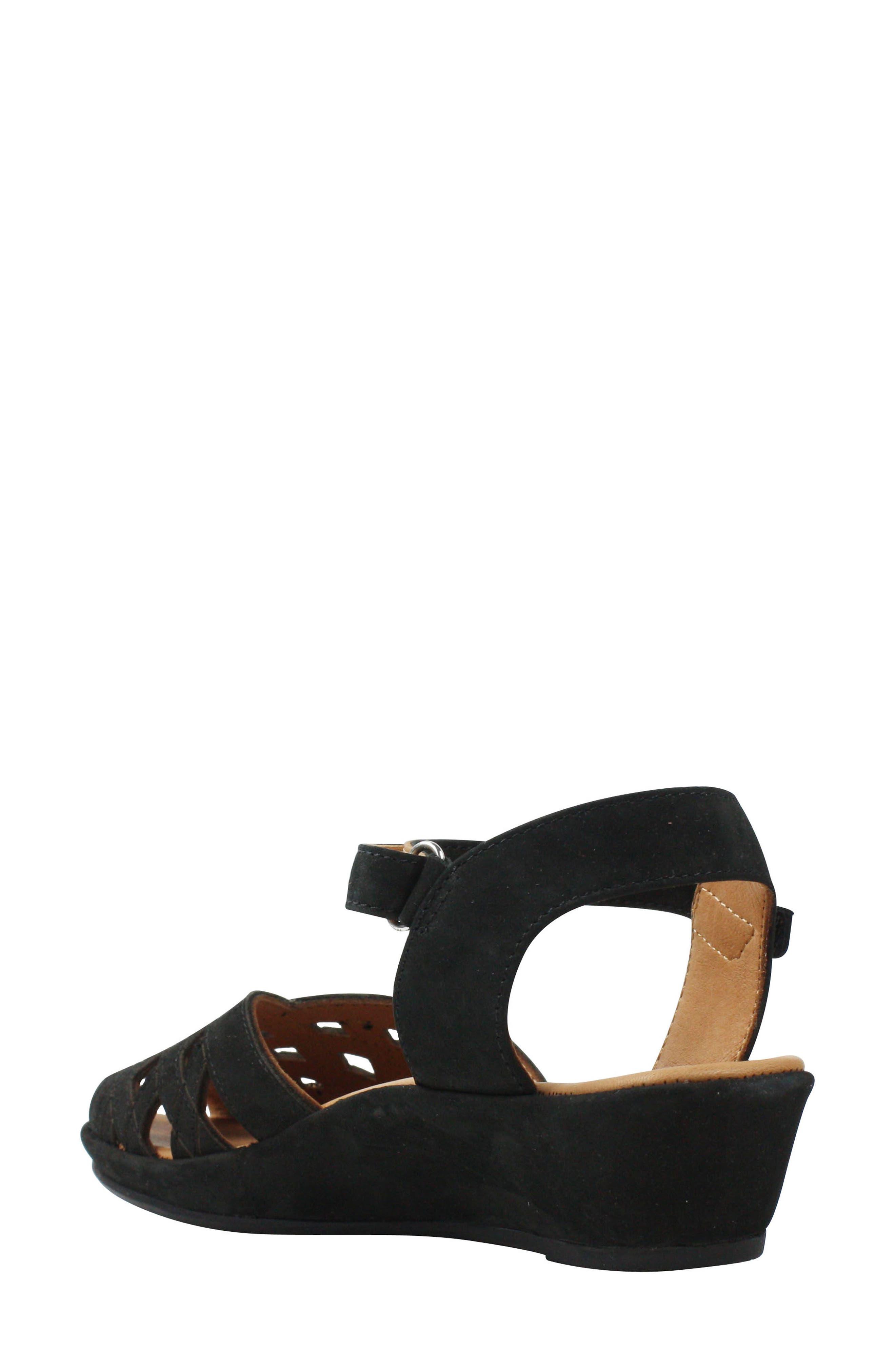 L'AMOUR DES PIEDS, Burcie Wedge Sandal, Alternate thumbnail 2, color, BLACK NUBUCK LEATHER