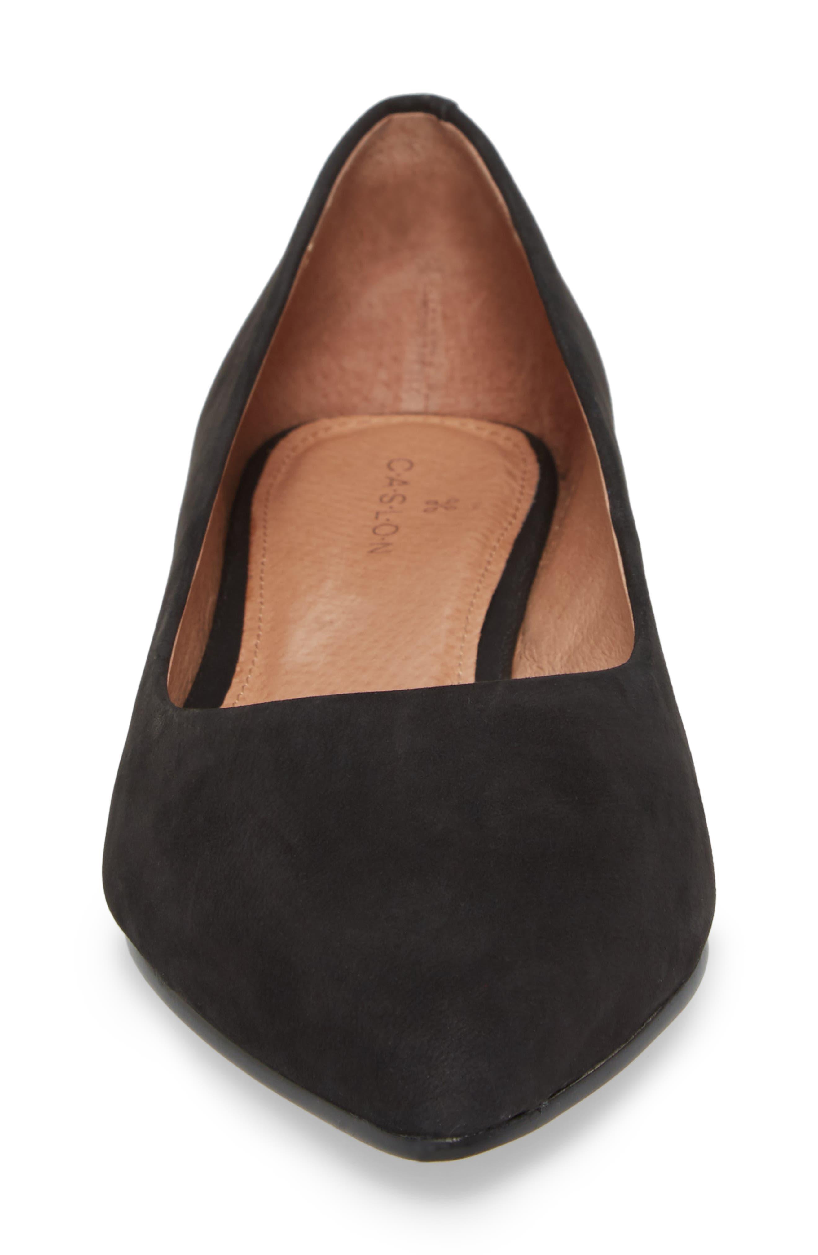 CASLON<SUP>®</SUP>, Luna Pointy Toe Flat, Alternate thumbnail 4, color, BLACK NUBUCK