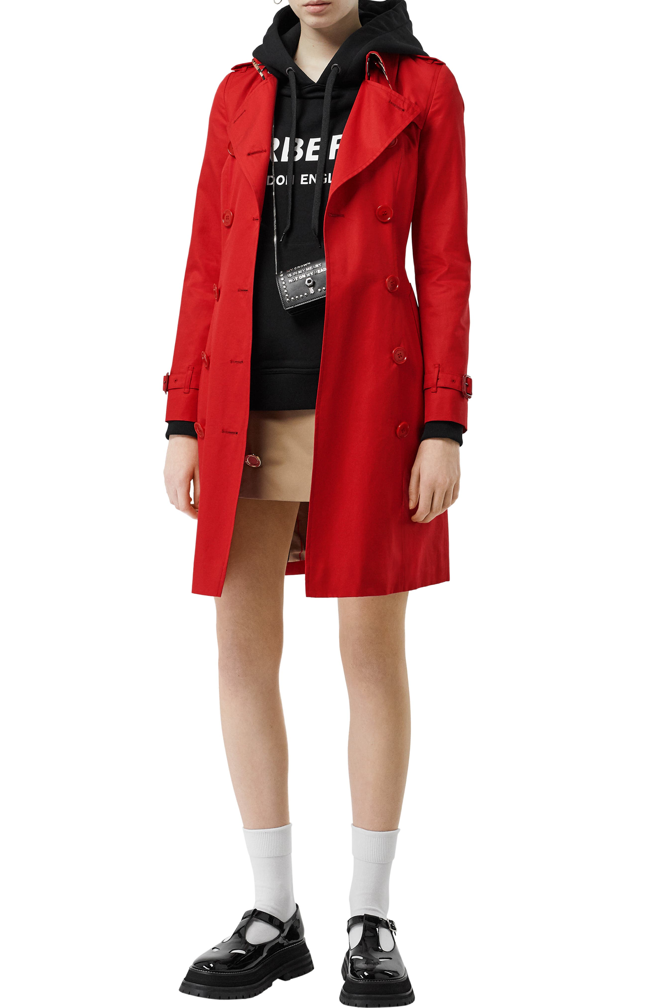 BURBERRY, The Chelsea Cotton Gabardine Trench Coat, Alternate thumbnail 9, color, BRIGHT RED