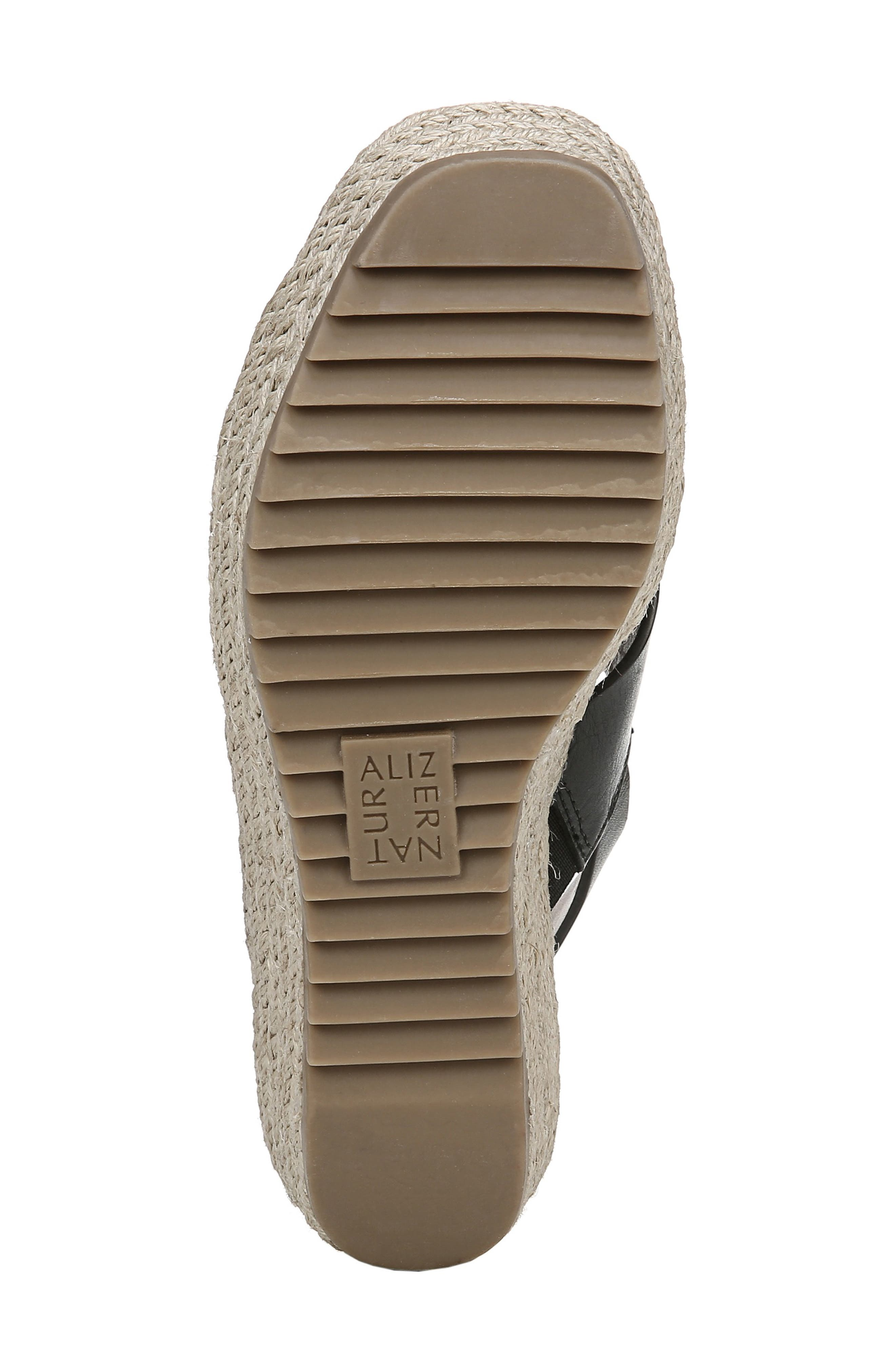 NATURALIZER, Oak Espadrille Wedge Sandal, Alternate thumbnail 6, color, BLACK LEATHER