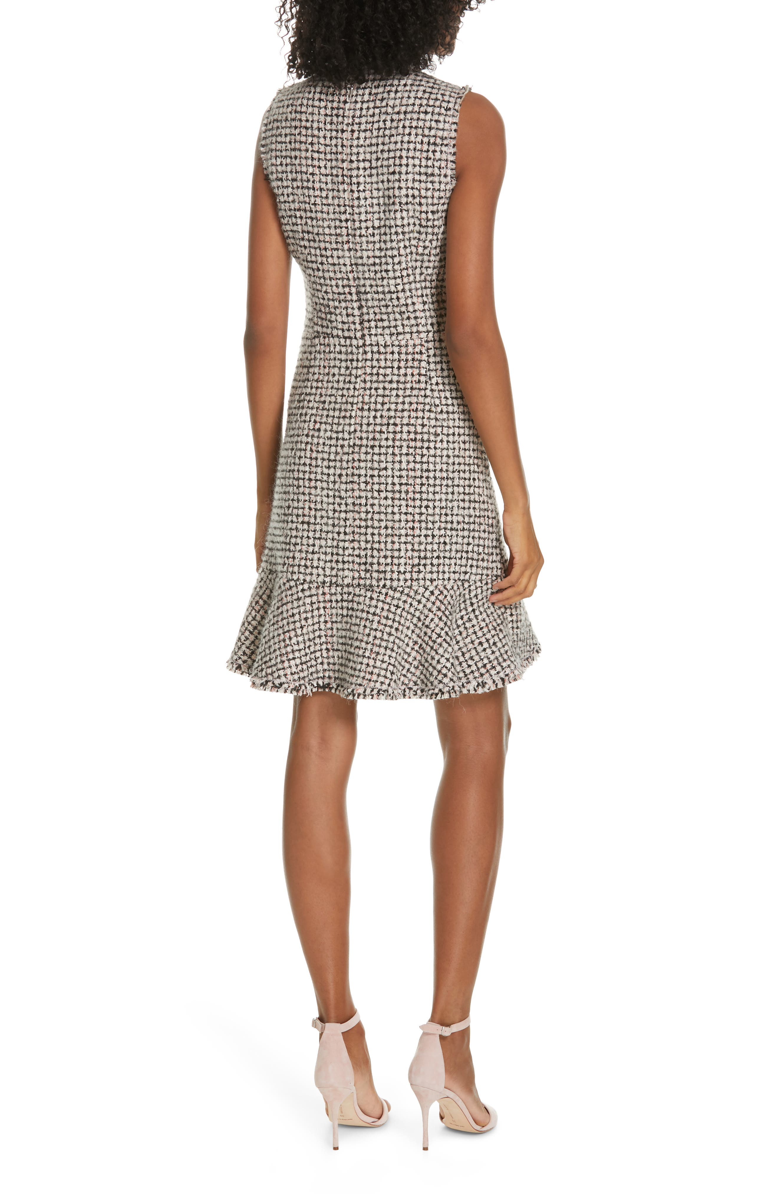 REBECCA TAYLOR, Houndstooth Tweed Dress, Alternate thumbnail 2, color, BLACK/ PINK COMBO