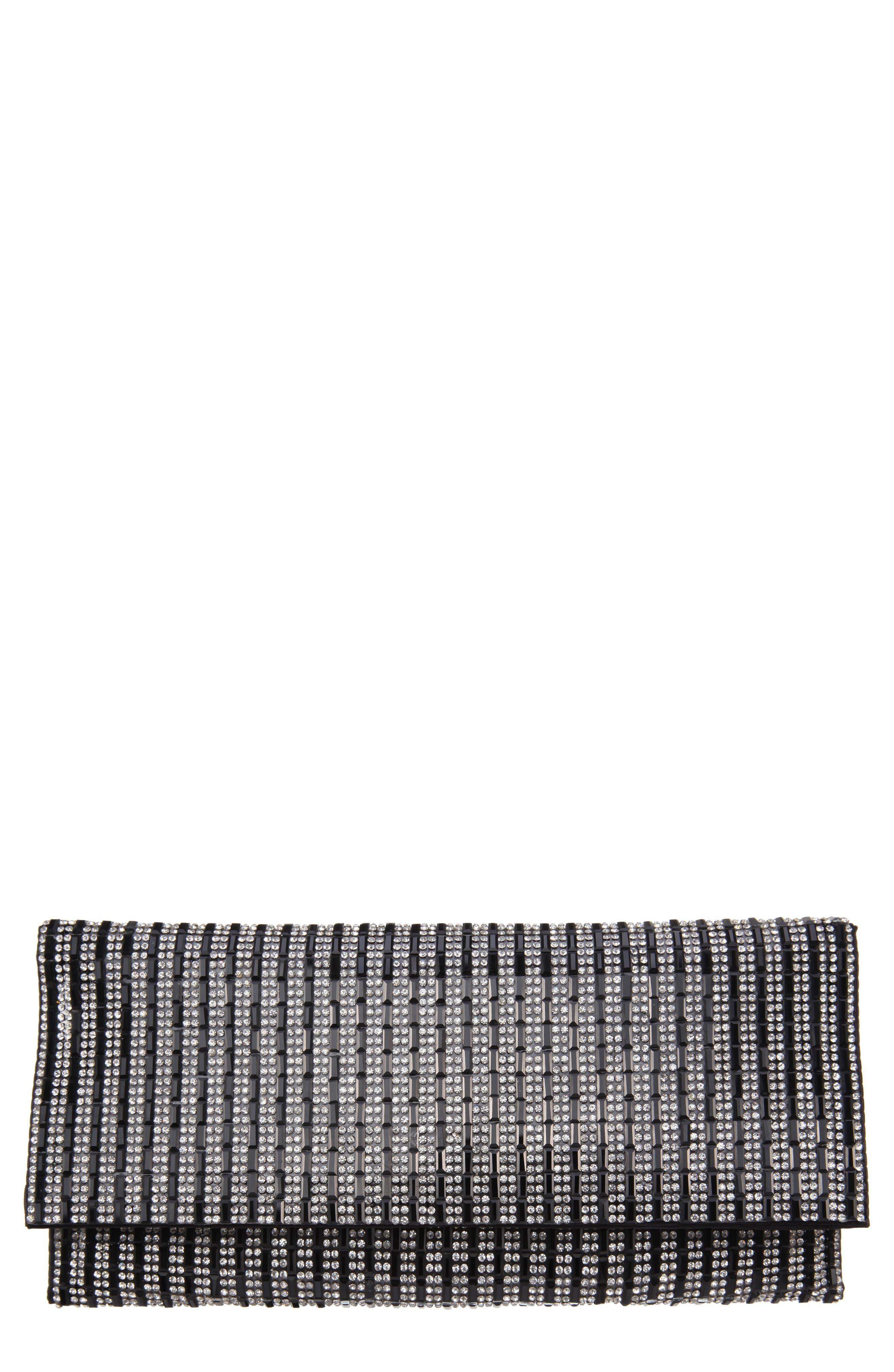 NINA Crystal Embellished Clutch, Main, color, BLACK/ WHITE