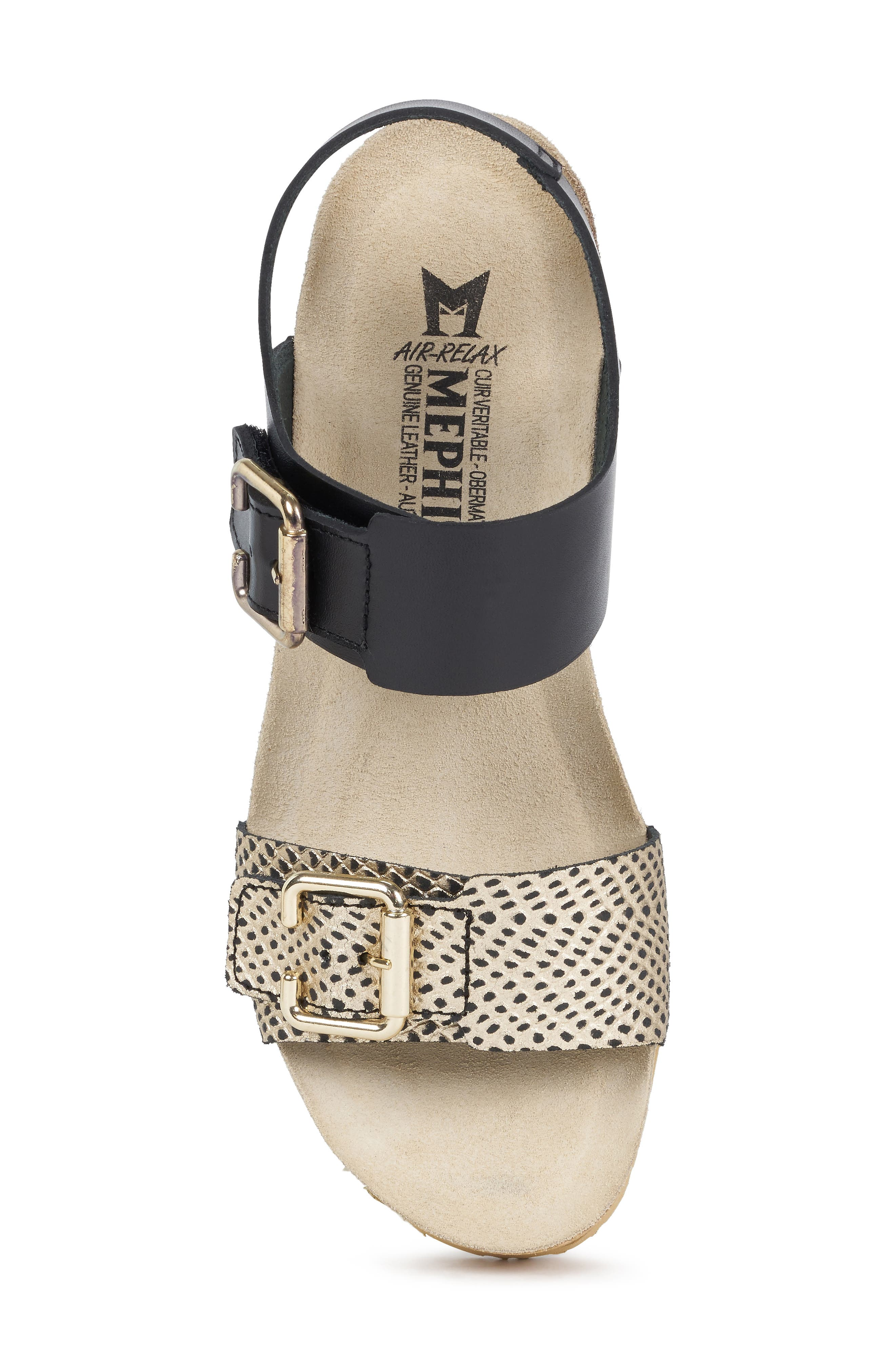 MEPHISTO, Lissandra Platform Wedge Sandal, Alternate thumbnail 5, color, BLACK/ GOLD LEATHER