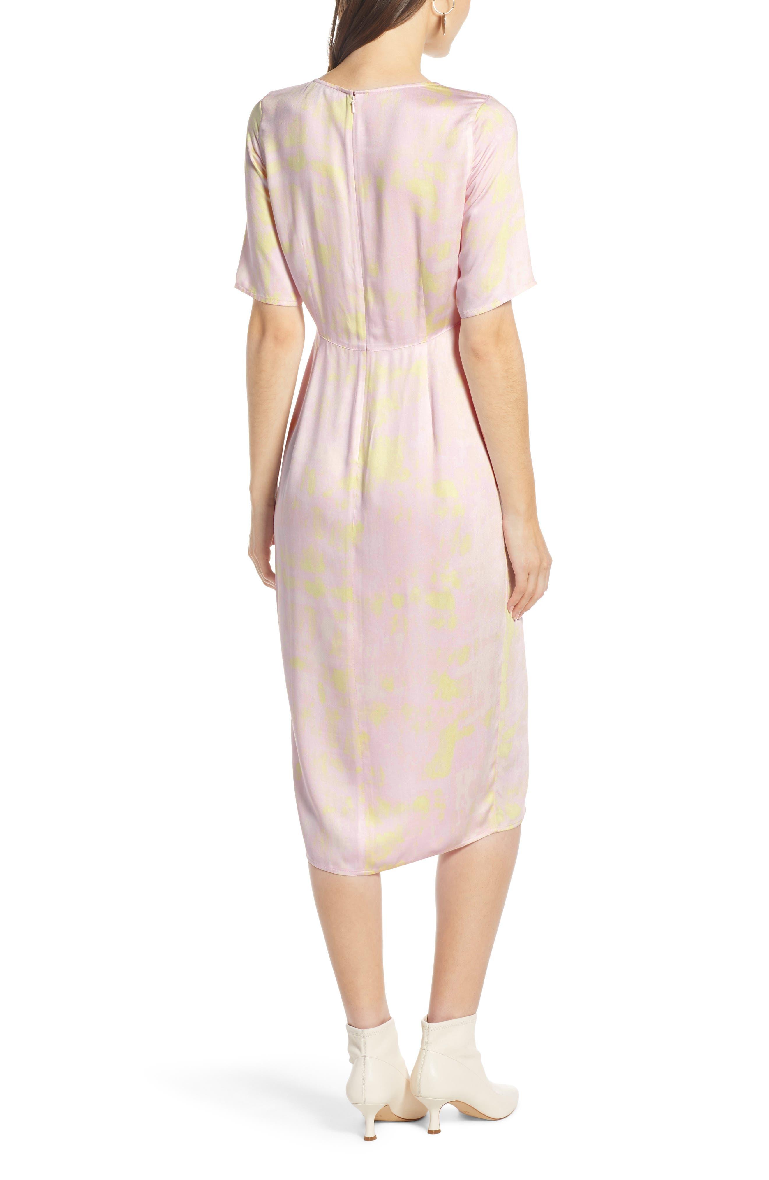 SOMETHING NAVY, Front Slit Midi Dress, Alternate thumbnail 4, color, 680