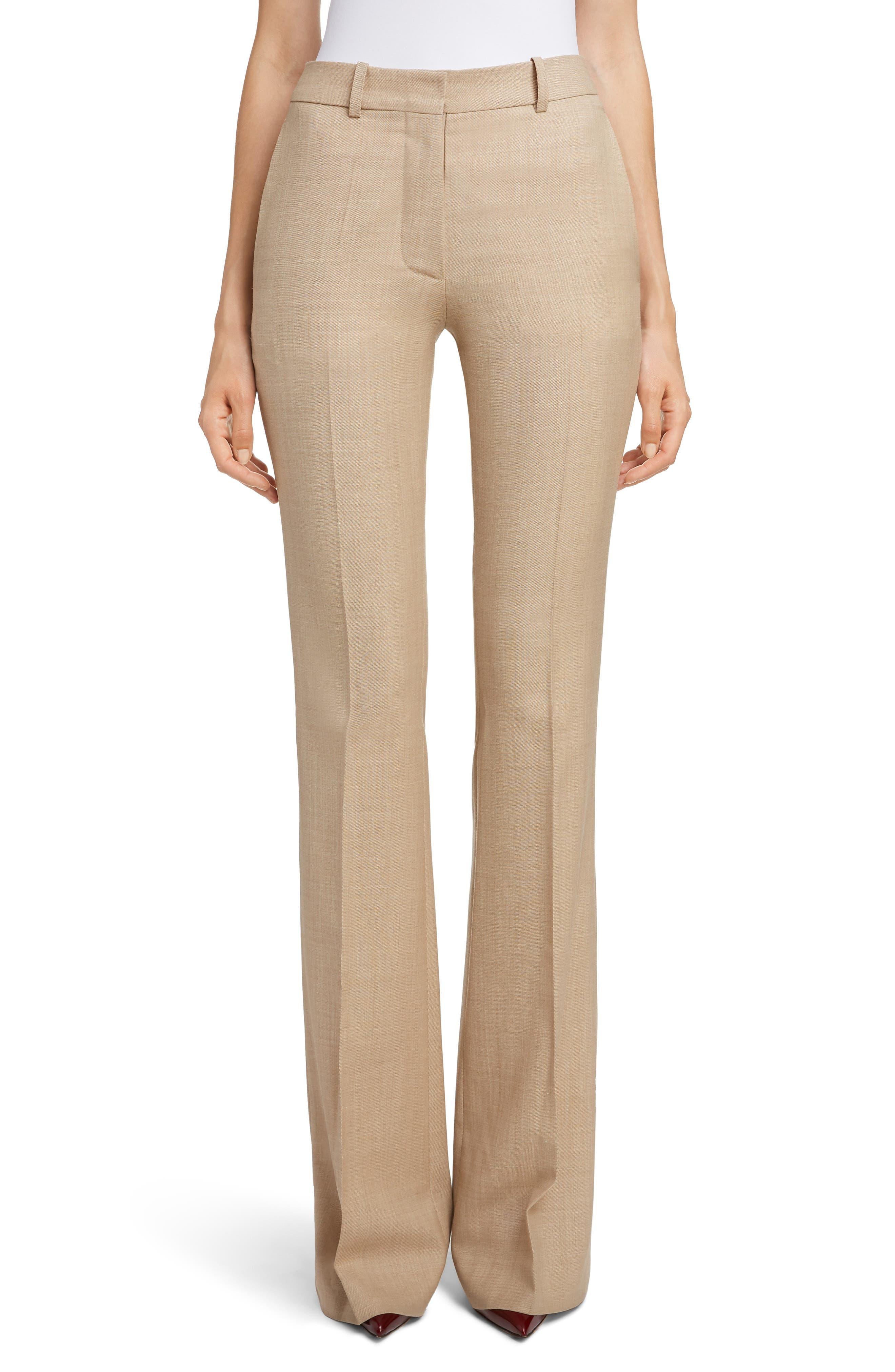 VICTORIA BECKHAM, High Waist Flare Wool Pants, Main thumbnail 1, color, LIGHT BEIGE-WHITE