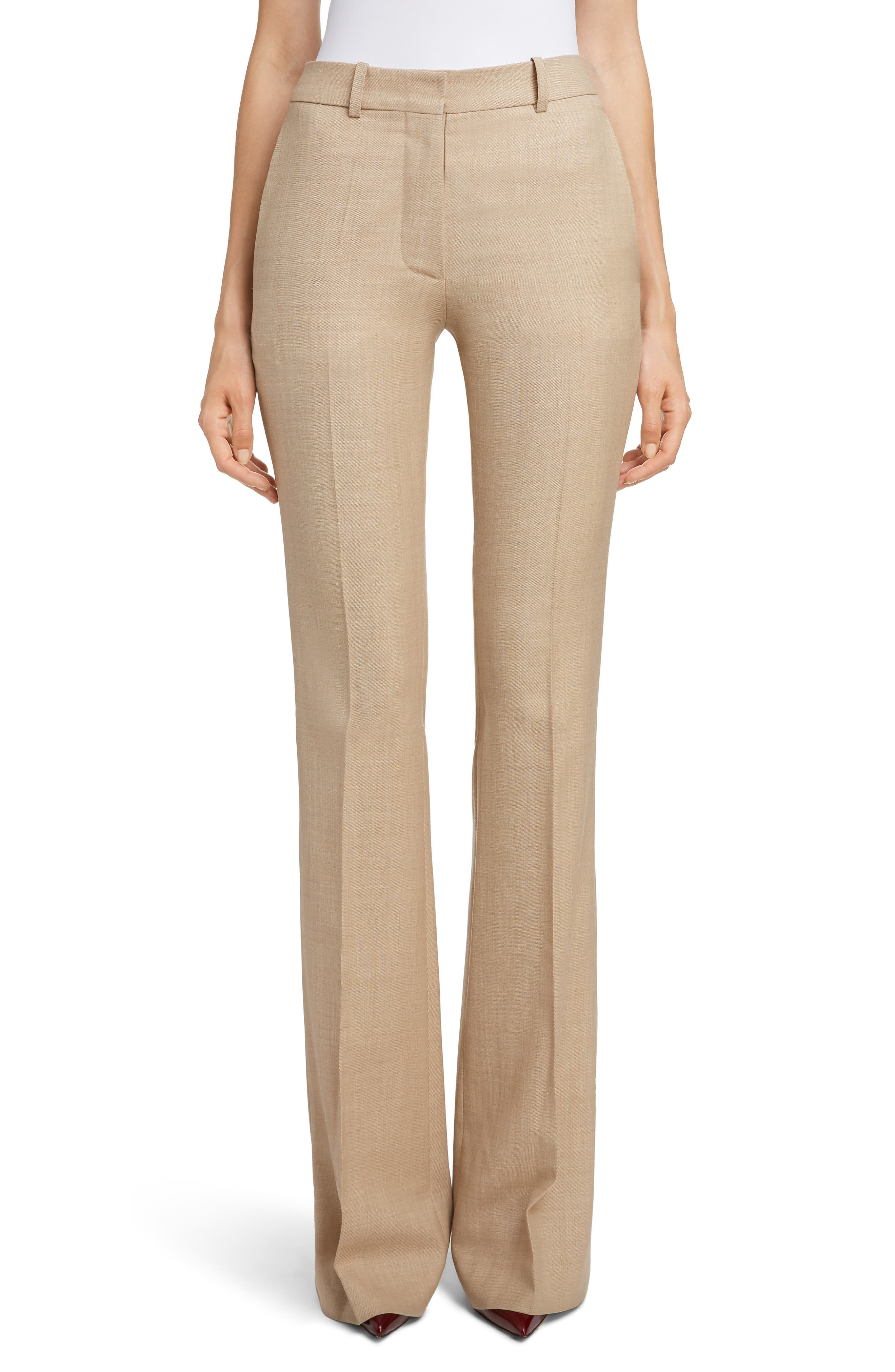 VICTORIA BECKHAM High Waist Flare Wool Pants, Main, color, LIGHT BEIGE-WHITE