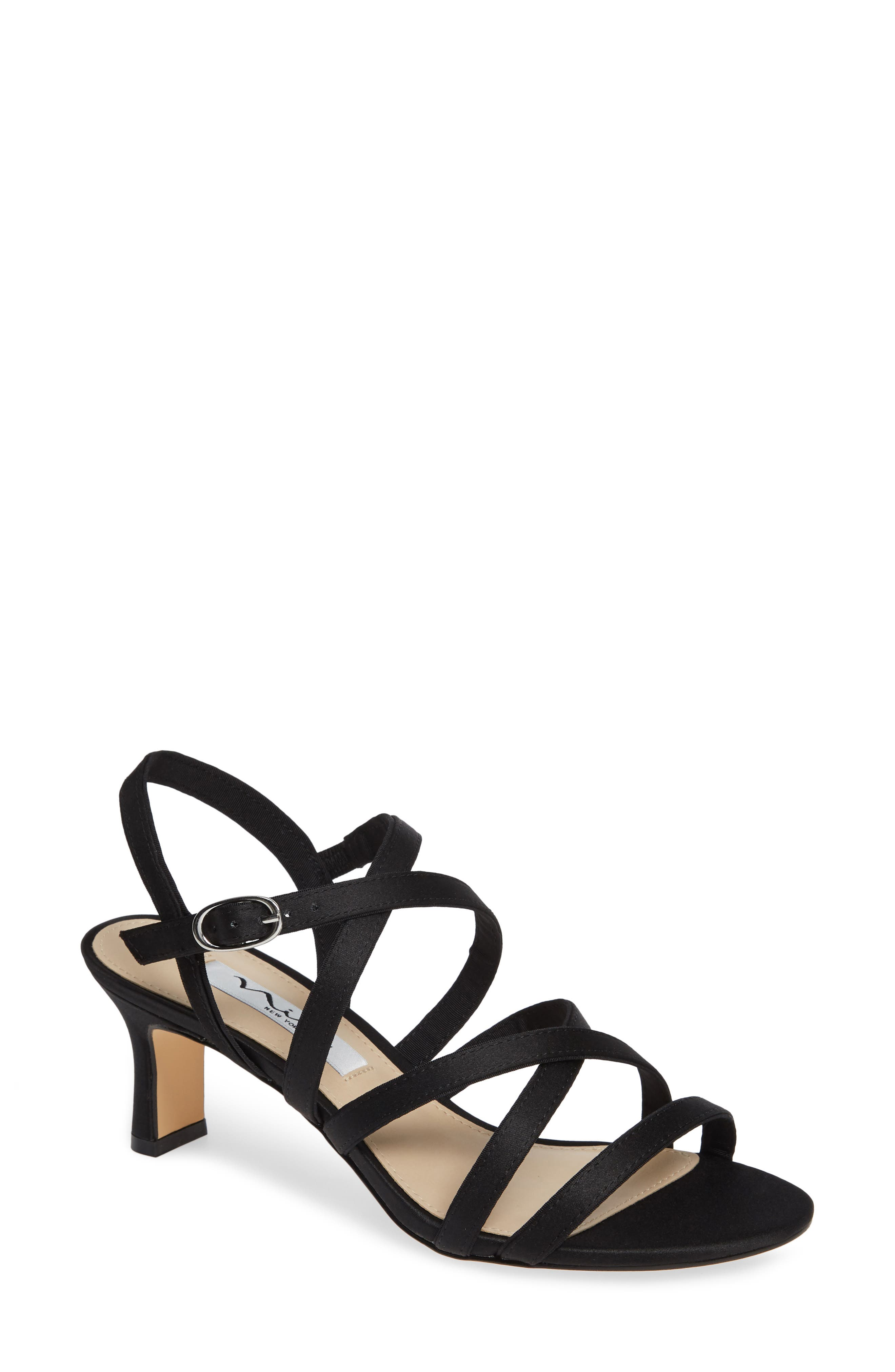 NINA, Genaya Strappy Evening Sandal, Main thumbnail 1, color, BLACK SATIN